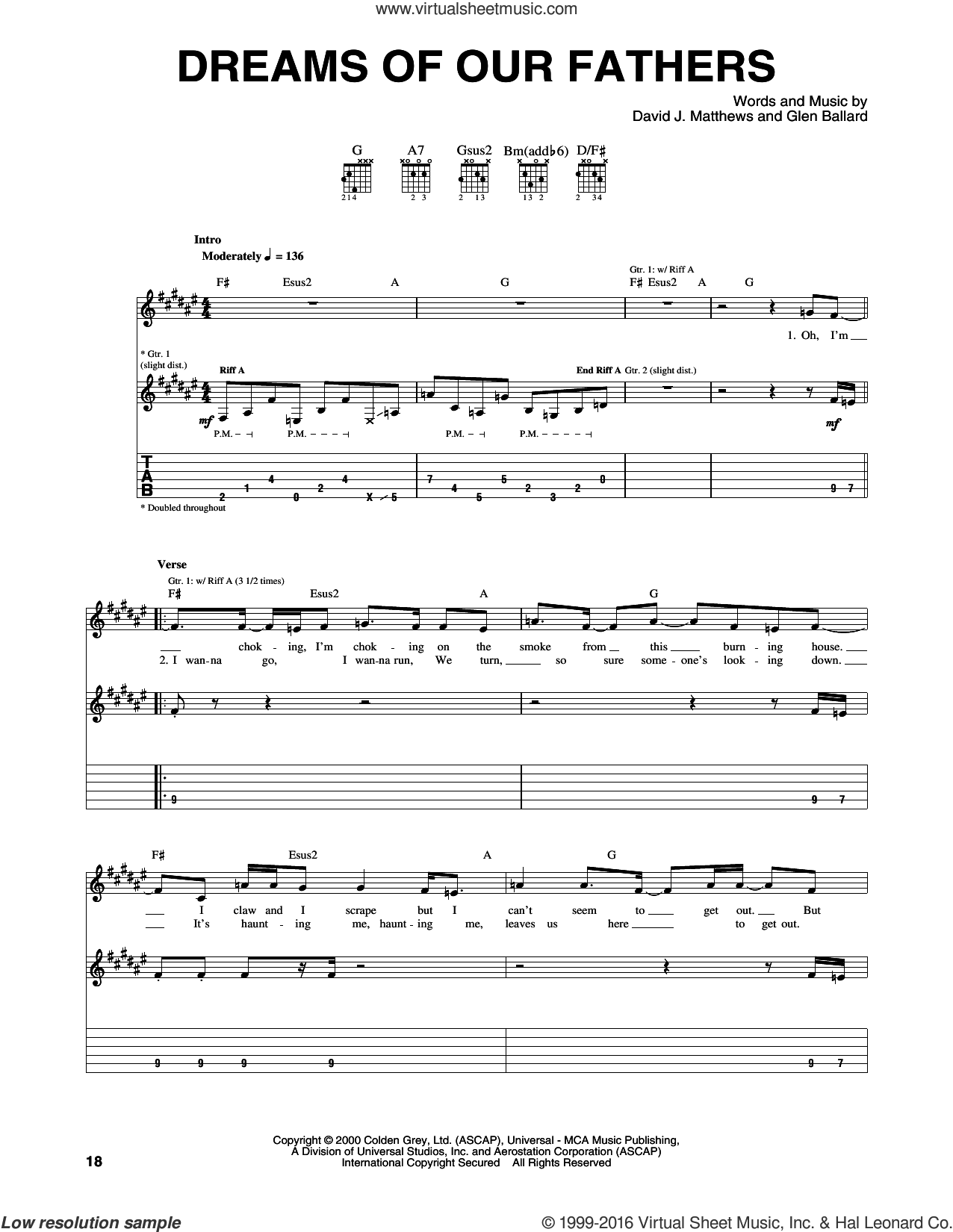 Dreams Of Our Fathers sheet music for guitar (tablature) by Glen Ballard and Dave Matthews Band. Score Image Preview.