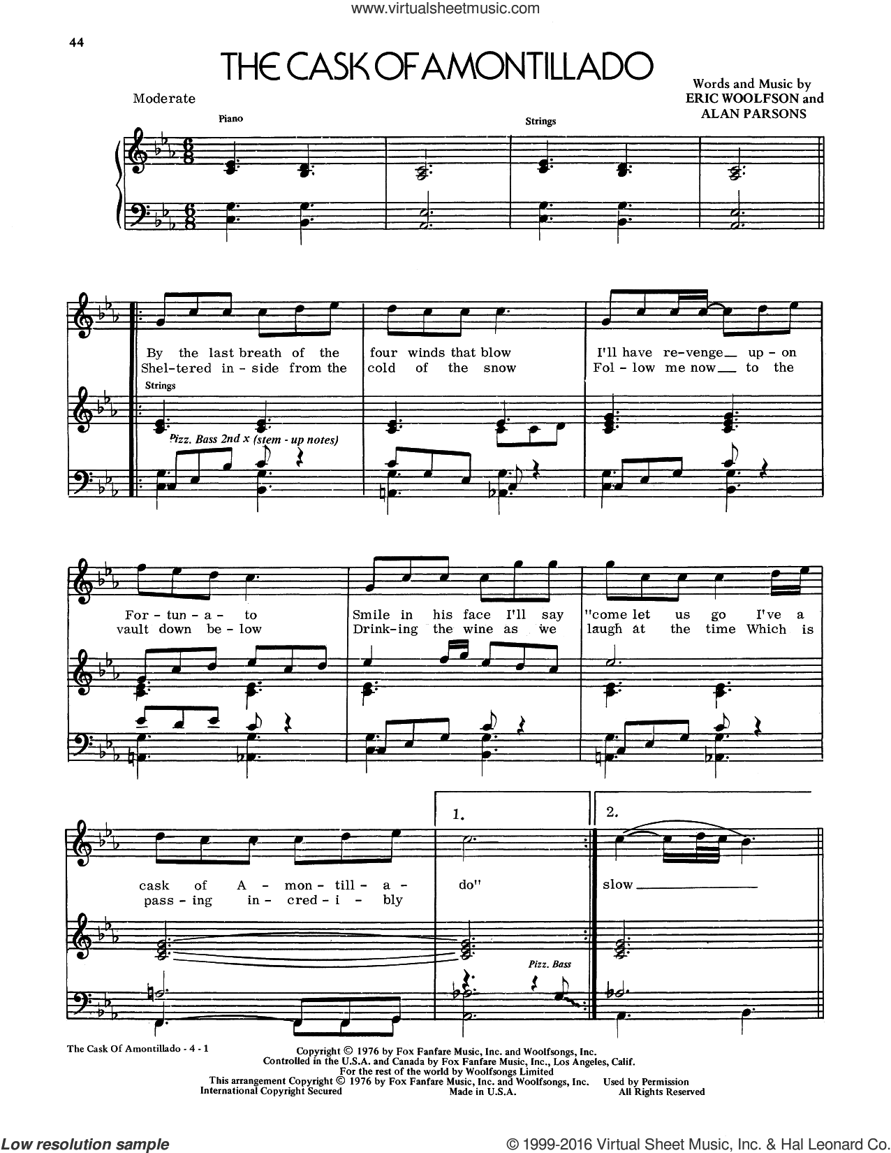 The Cask Of Amontillado sheet music for voice and piano by Alan Parsons Project, Alan Parsons and Eric Woolfson, intermediate skill level