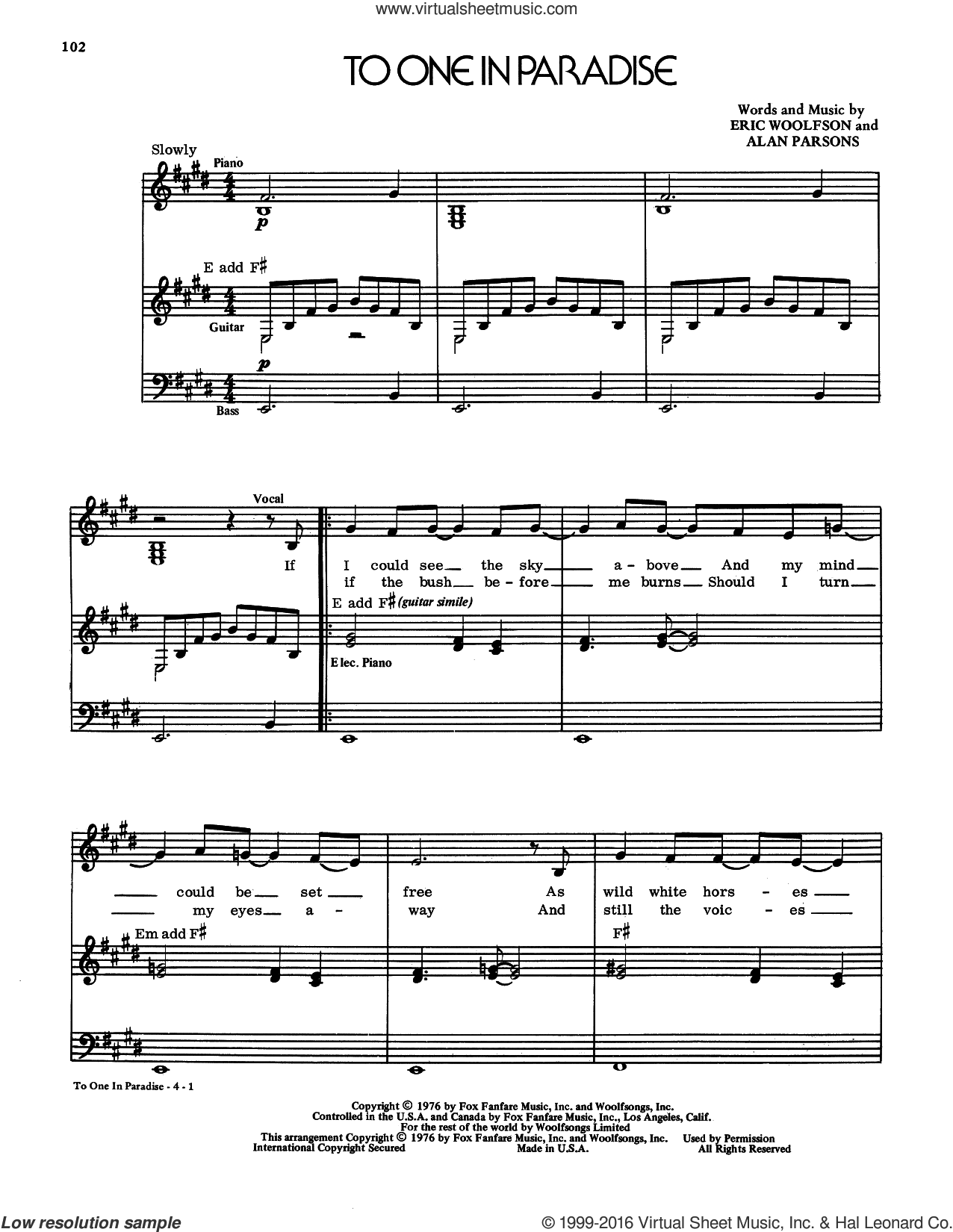 To One In Paradise sheet music for voice and piano by Alan Parsons Project, Alan Parsons and Eric Woolfson, intermediate skill level