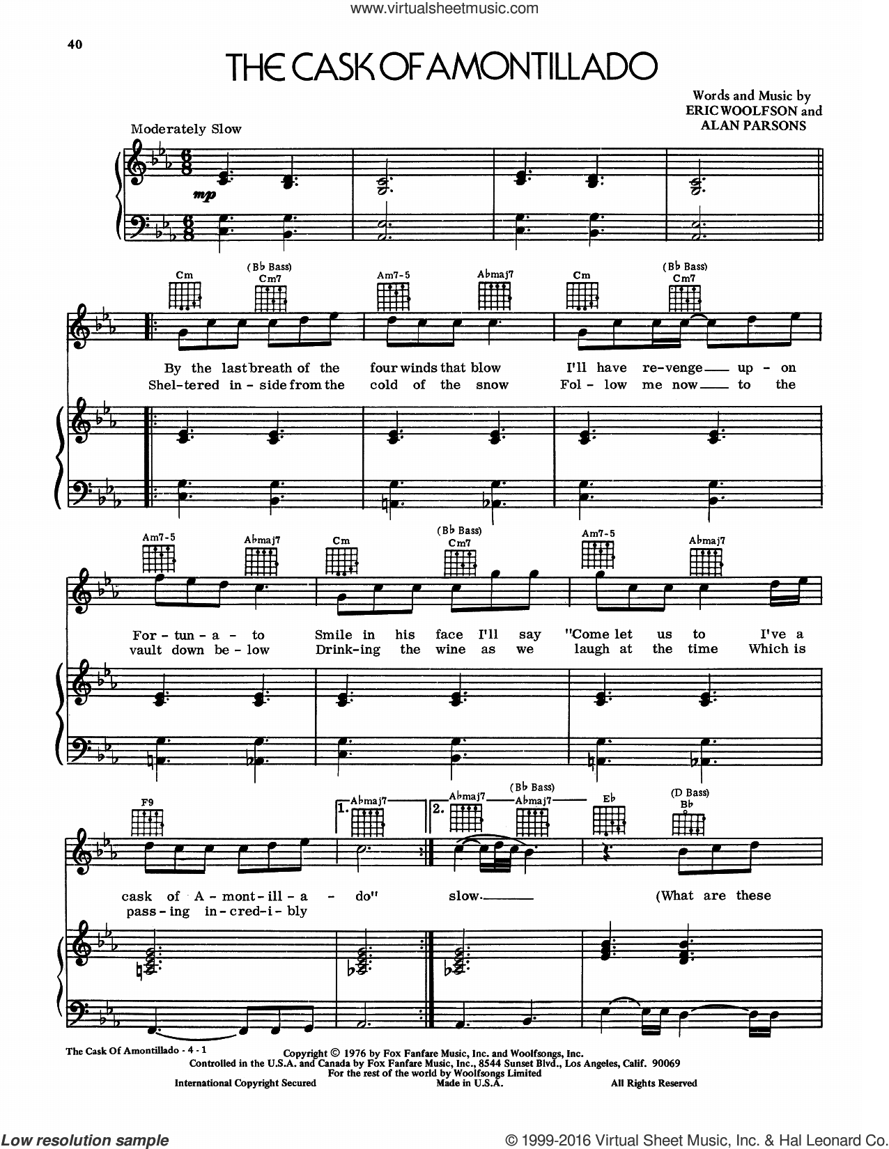 The Cask Of Amontillado sheet music for voice, piano or guitar by Alan Parsons Project, Alan Parsons and Eric Woolfson, intermediate skill level