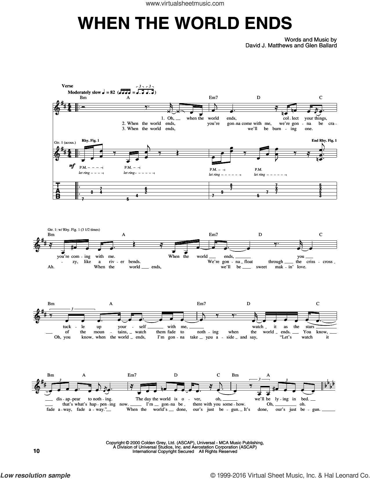 When The World Ends sheet music for guitar (tablature) by Glen Ballard and Dave Matthews Band. Score Image Preview.