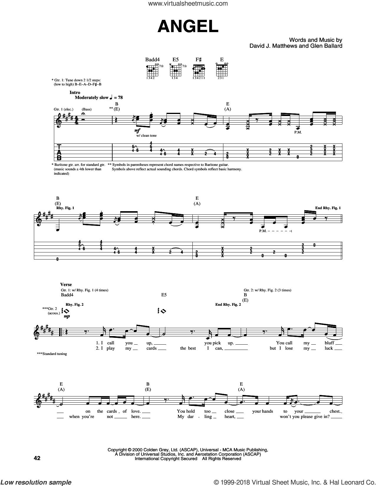 Angel sheet music for guitar (tablature) by Dave Matthews Band and Glen Ballard, intermediate skill level