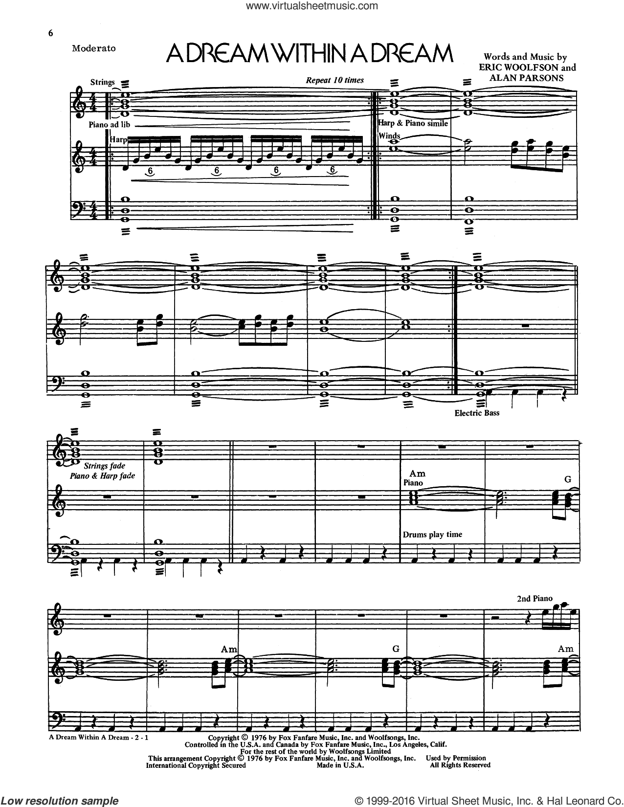 A Dream Within A Dream sheet music for voice and piano by Alan Parsons Project, Alan Parsons and Eric Woolfson, intermediate skill level
