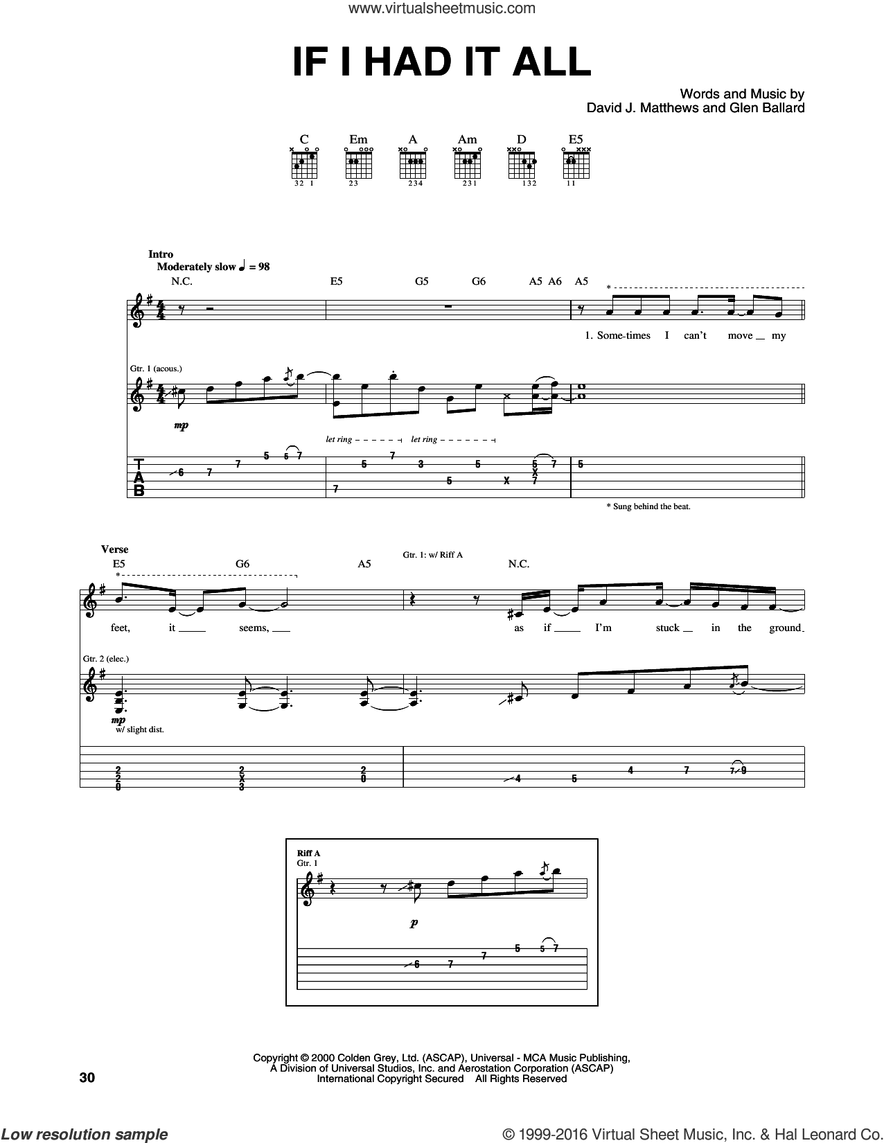 If I Had It All sheet music for guitar (tablature) by Dave Matthews Band and Glen Ballard, intermediate skill level