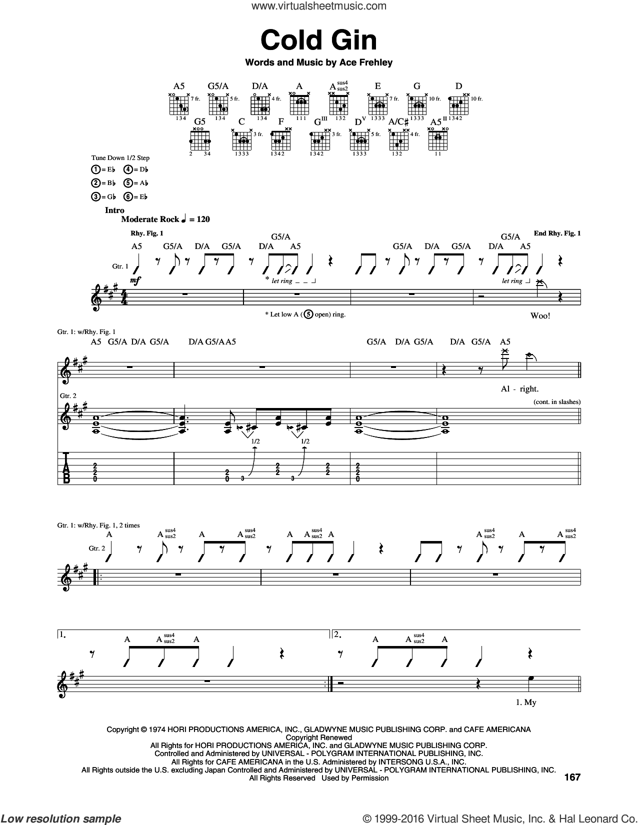 Cold Gin sheet music for guitar (tablature) by Ace Frehley and KISS. Score Image Preview.
