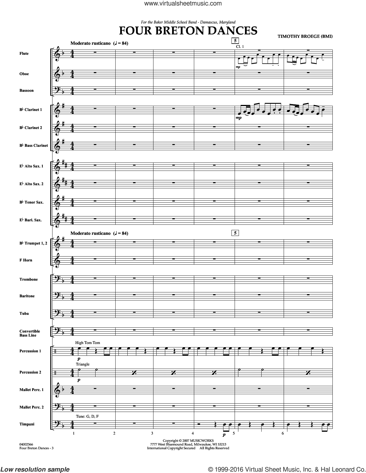 Four Breton Dances (COMPLETE) sheet music for concert band by Timothy Broege, intermediate. Score Image Preview.