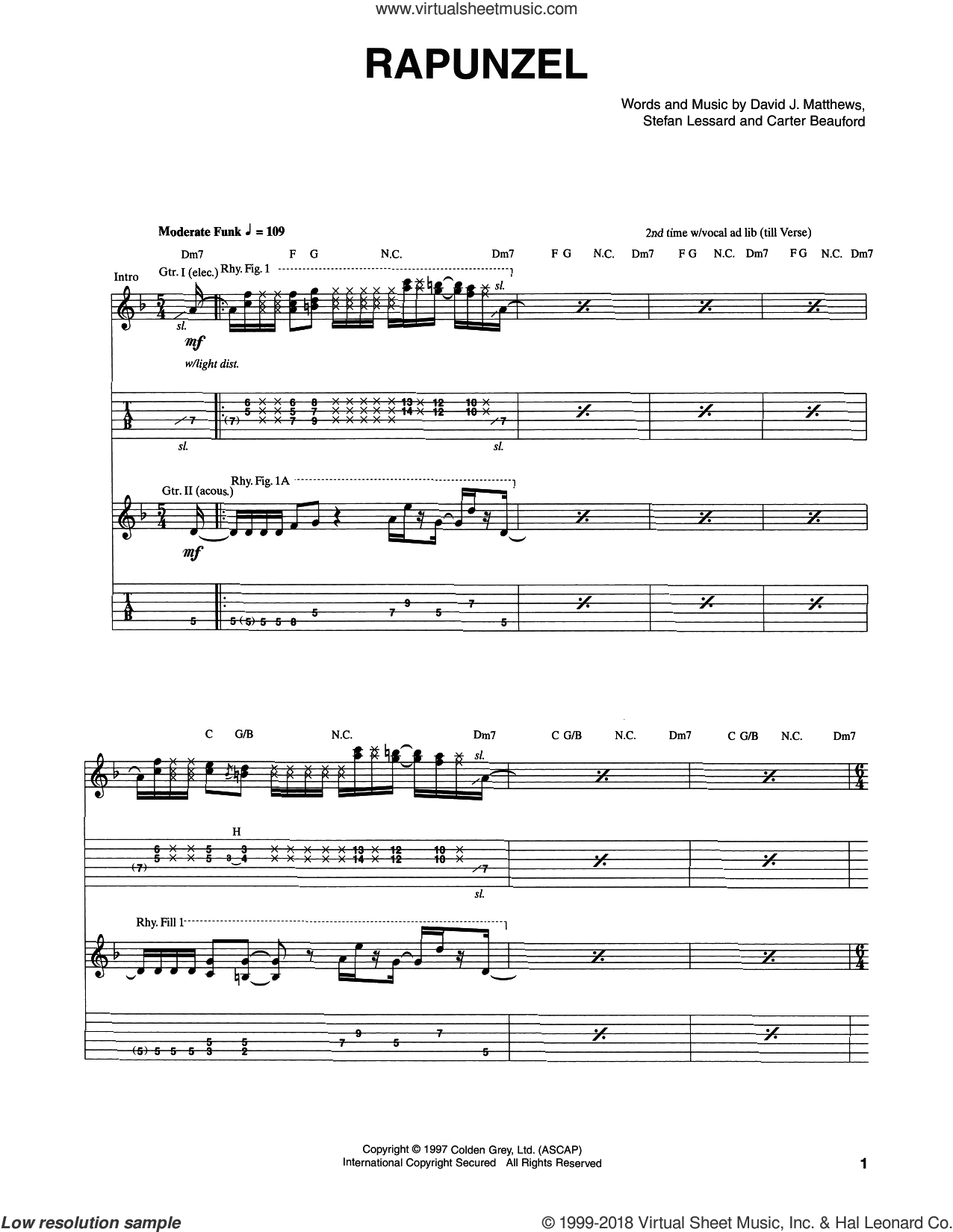 Rapunzel sheet music for guitar (tablature) by Stefan Lessard, Carter Beauford and Dave Matthews Band. Score Image Preview.
