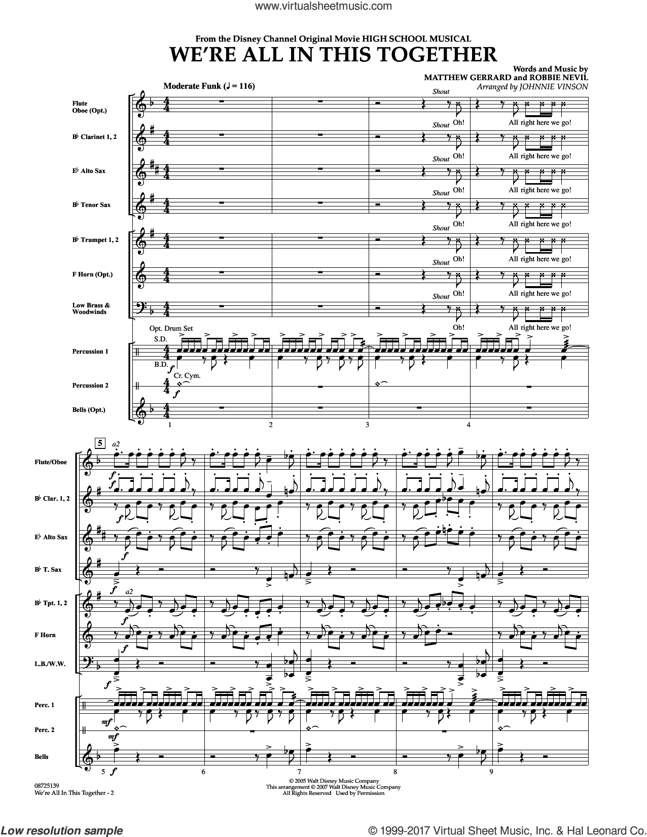 We're All In This Together (from High School Musical) (COMPLETE) sheet music for concert band by Matthew Gerrard, High School Musical Cast, Johnnie Vinson and Robbie Nevil, intermediate skill level