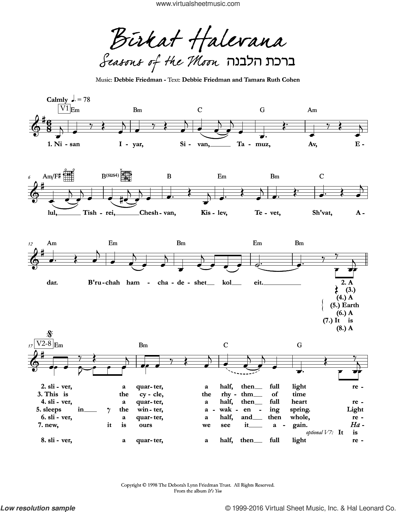 Birkat Halevana (Seasons of the Moon) sheet music for voice and other instruments (fake book) by Debbie Friedman & Tamara Ruth Cohen and Debbie Friedman. Score Image Preview.