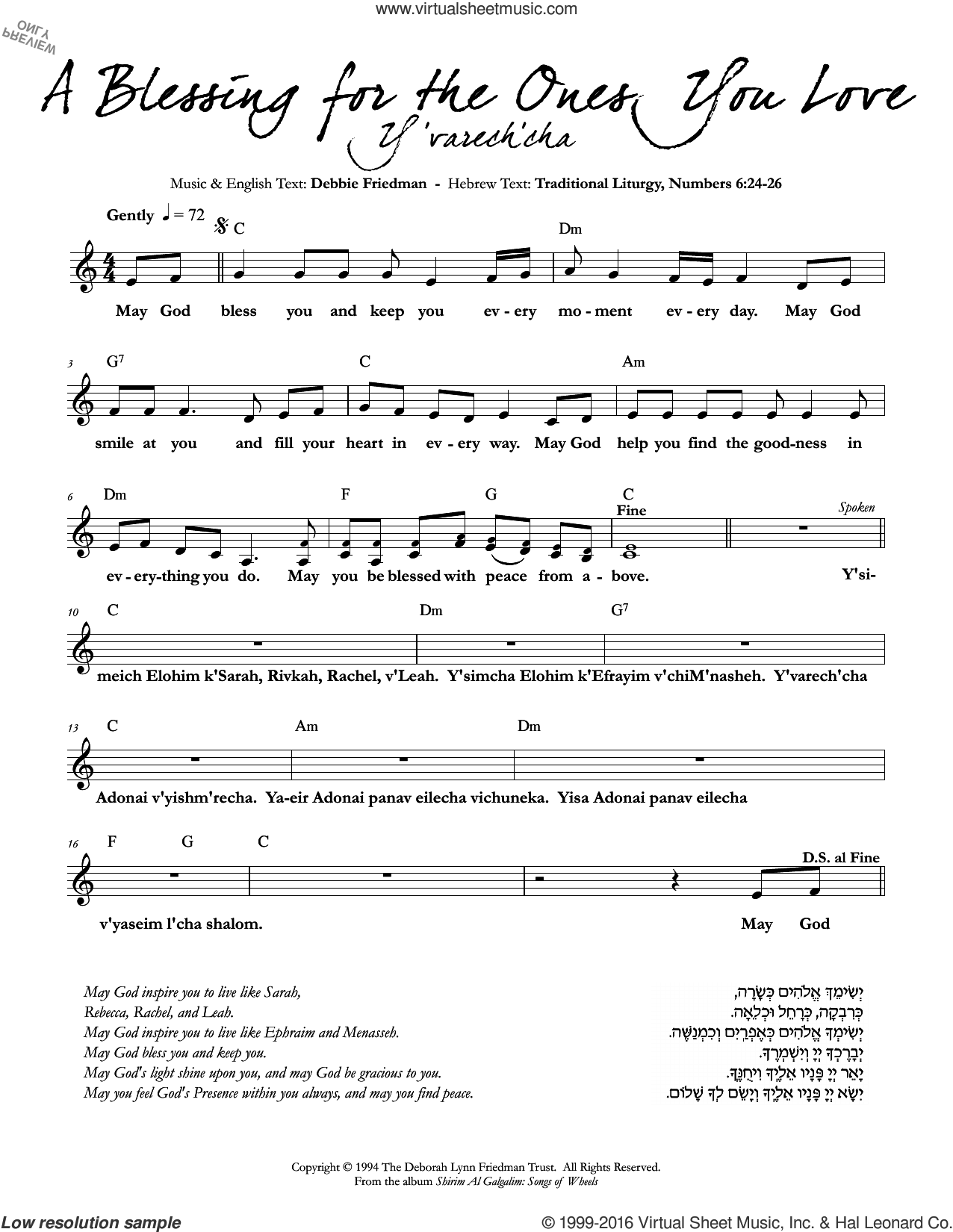 A Blessing for the Ones You Love sheet music for voice and other instruments (fake book) by Debbie Friedman, intermediate