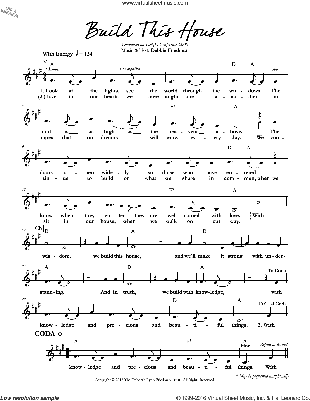 Build This House sheet music for voice and other instruments (fake book) by Debbie Friedman, intermediate skill level