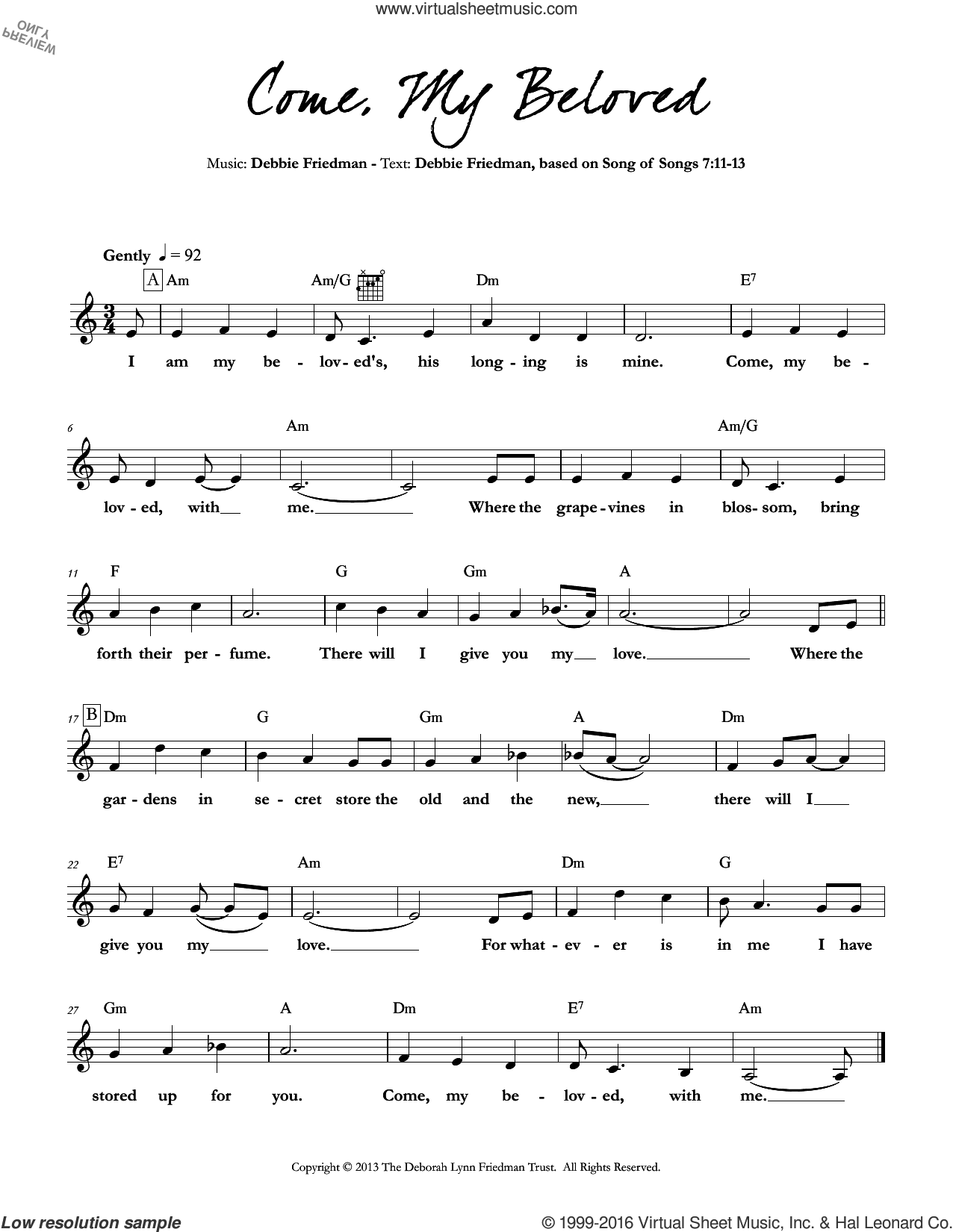Come, My Beloved sheet music for voice and other instruments (fake book) by Debbie Friedman. Score Image Preview.