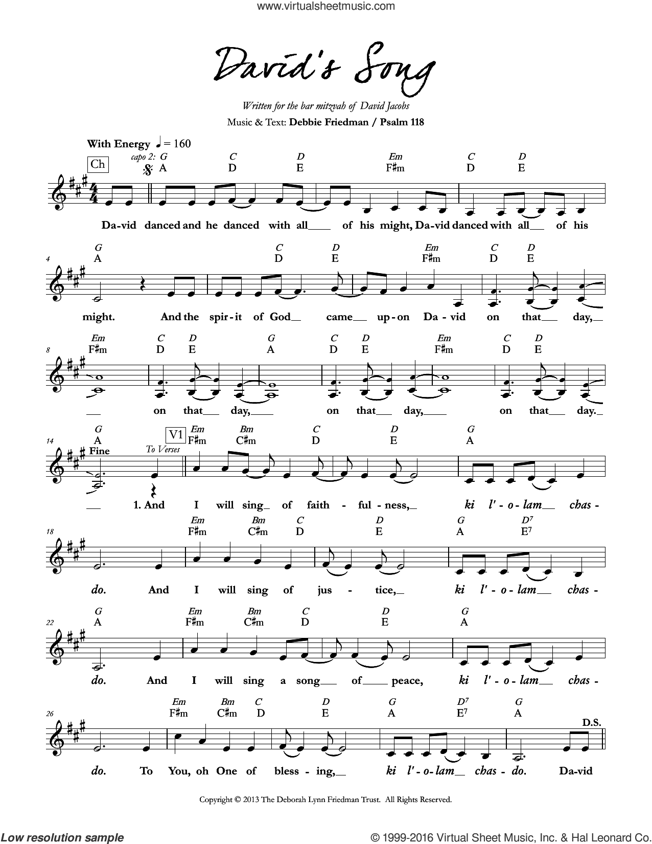 David's Song sheet music for voice and other instruments (fake book) by Debbie Friedman, intermediate skill level
