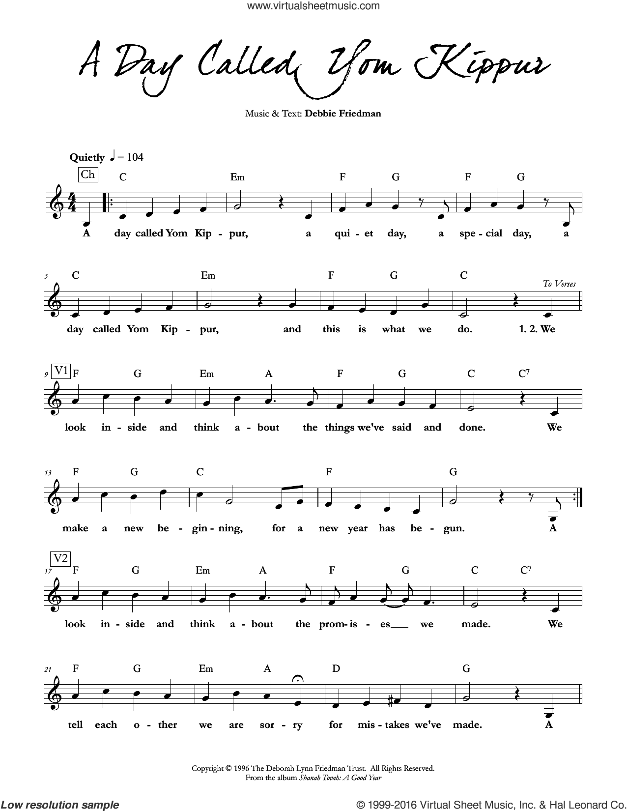 A Day Called Yom Kippur sheet music for voice and other instruments (fake book) by Debbie Friedman, intermediate skill level