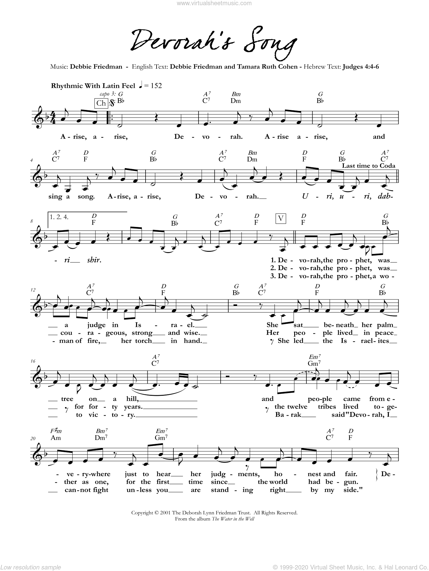 Devorah's Song sheet music for voice and other instruments (fake book) by Debbie Friedman & Tamara Ruth Cohen and Debbie Friedman, intermediate. Score Image Preview.