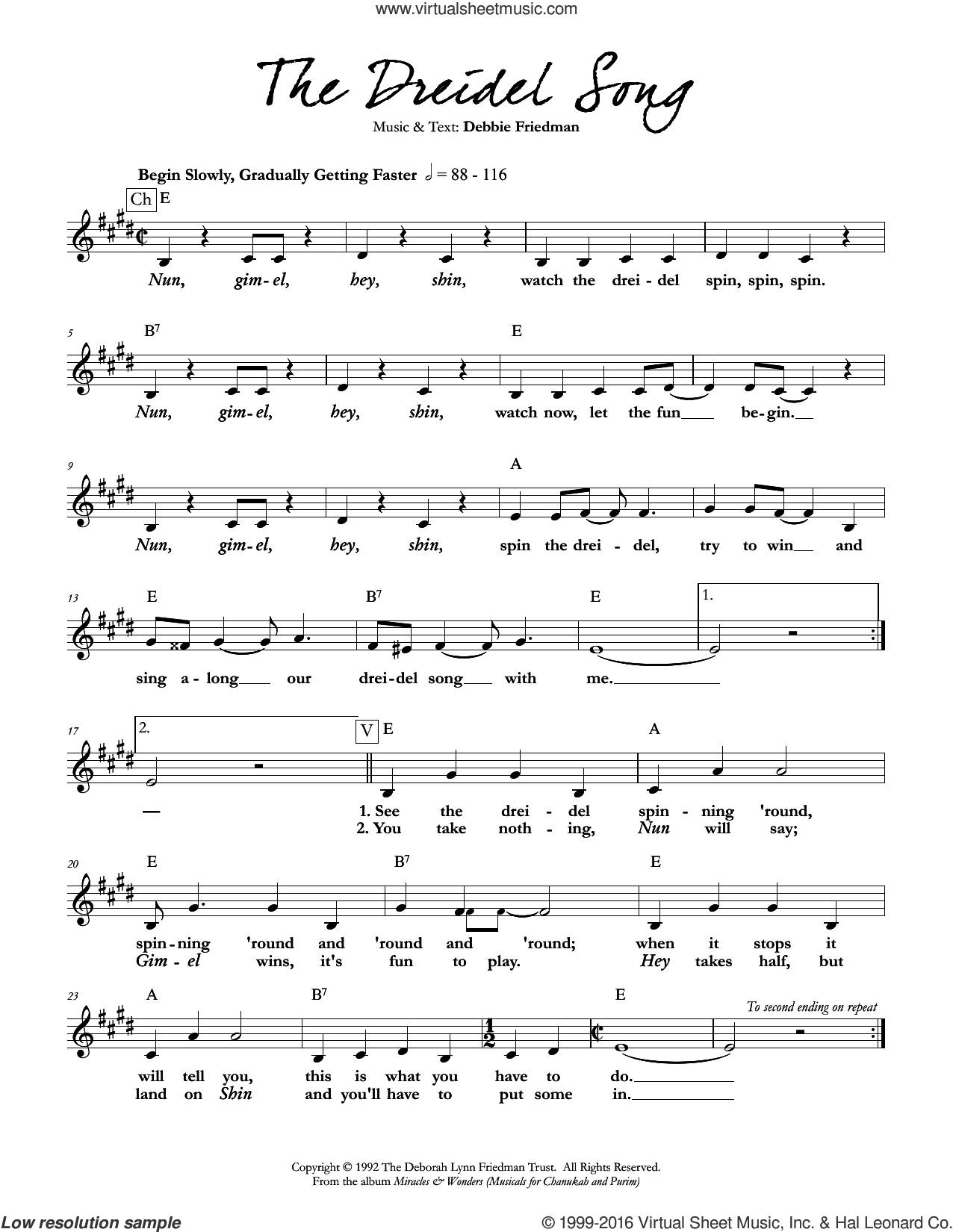 The Dreidel Song sheet music for voice and other instruments (fake book) by Debbie Friedman. Score Image Preview.