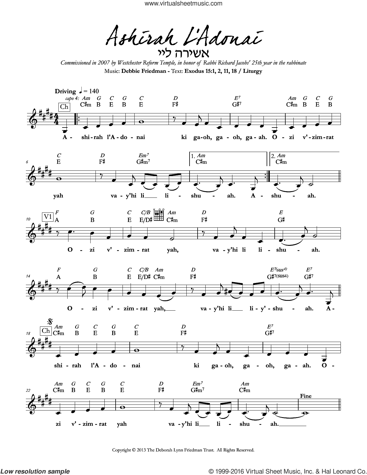 Ashirah L'Adonai sheet music for voice and other instruments (fake book) by Debbie Friedman. Score Image Preview.