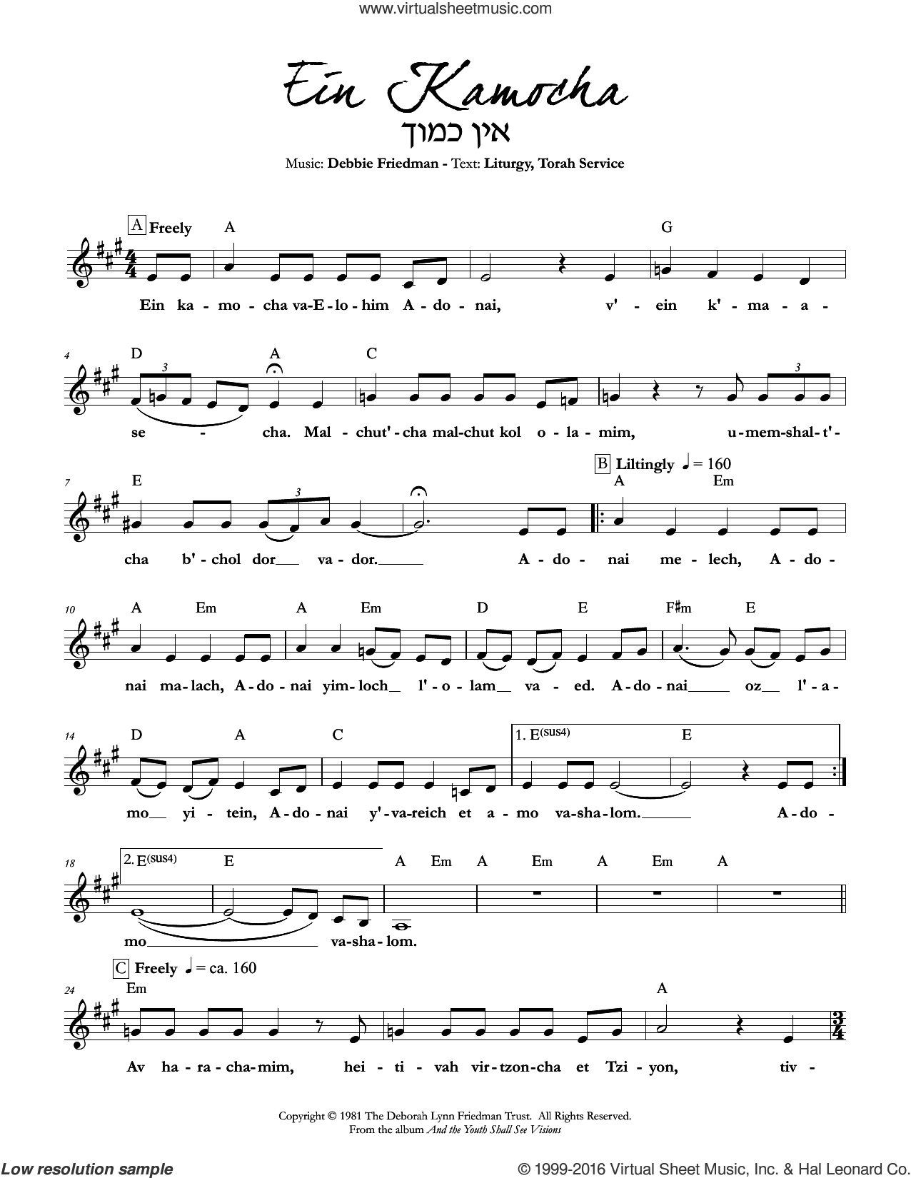 Ein Kamocha sheet music for voice and other instruments (fake book) by Debbie Friedman, intermediate. Score Image Preview.
