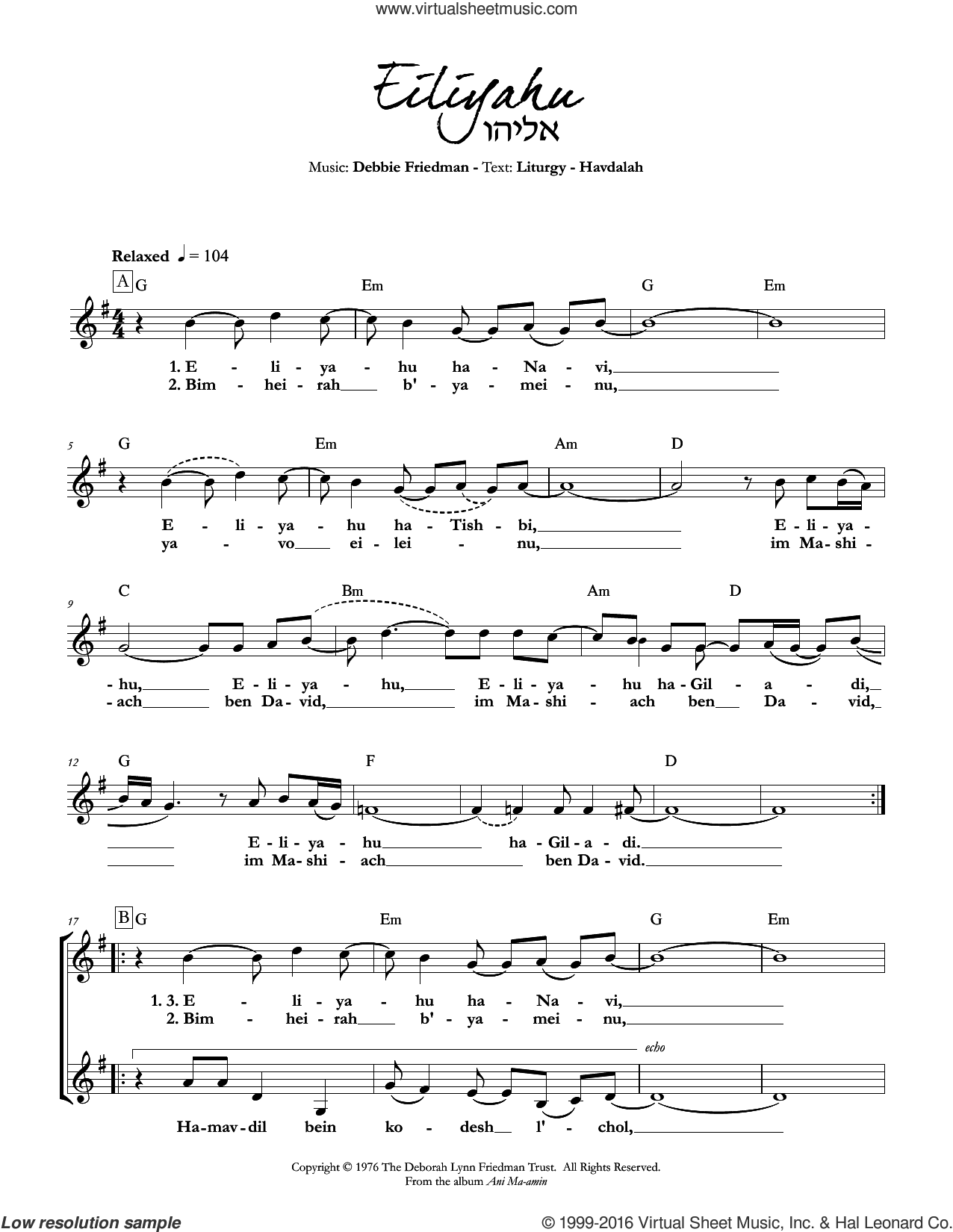 Eiliyahu sheet music for voice and other instruments (fake book) by Debbie Friedman, intermediate. Score Image Preview.