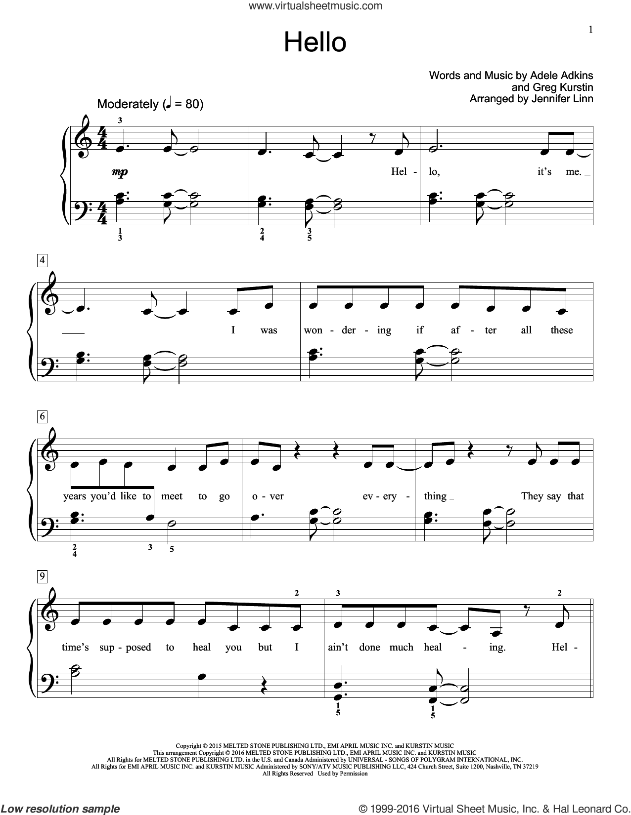 Hello sheet music for piano solo (elementary) by Greg Kurstin, Jennifer Linn and Adele. Score Image Preview.