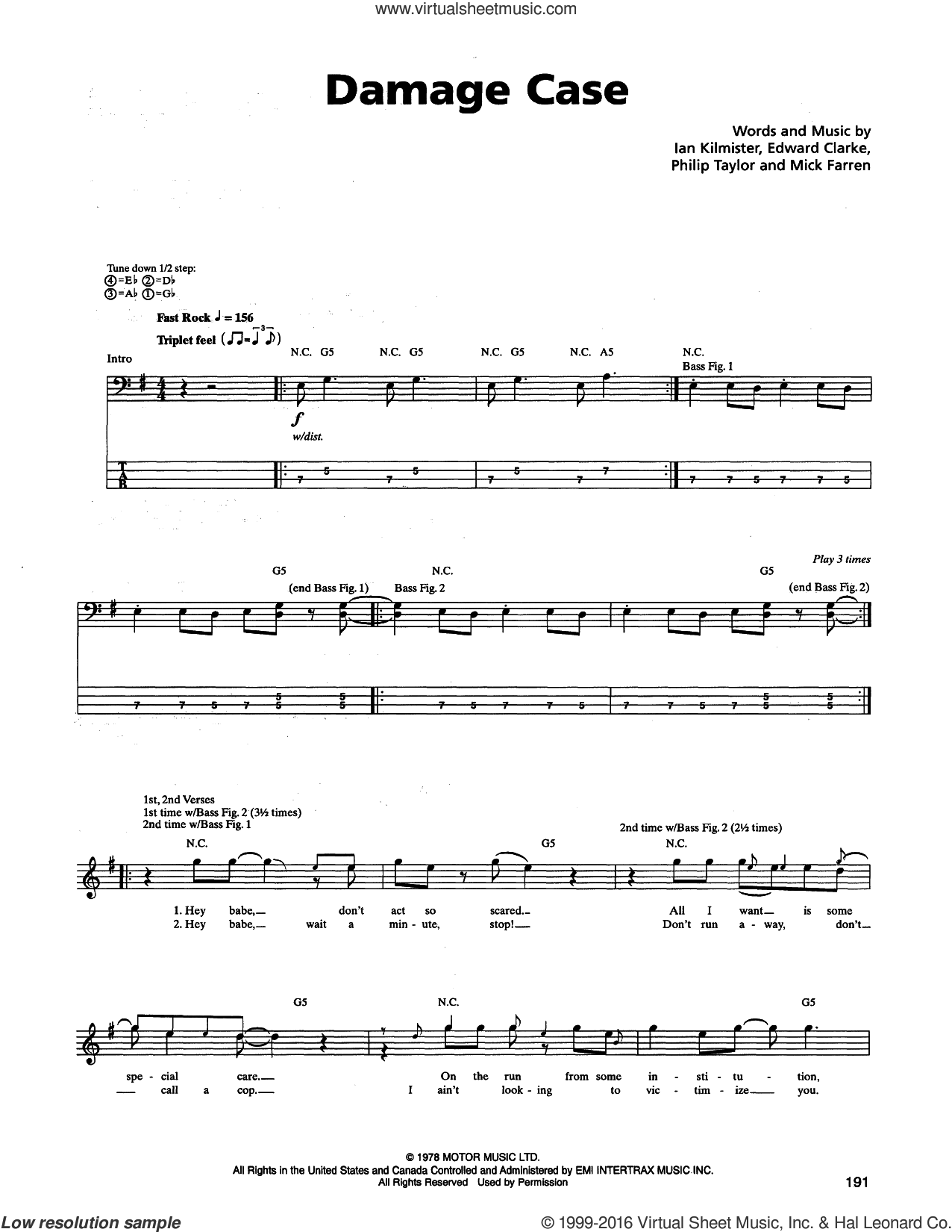 Damage Case sheet music for bass (tablature) (bass guitar) by Metallica. Score Image Preview.