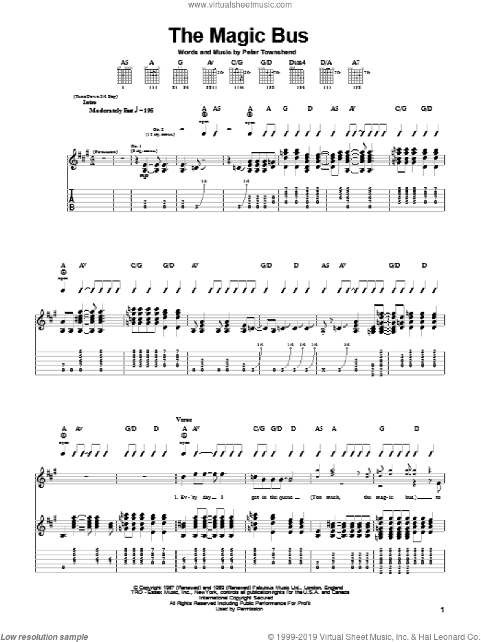 Magic Bus sheet music for guitar (tablature) by Pete Townshend and The Who. Score Image Preview.