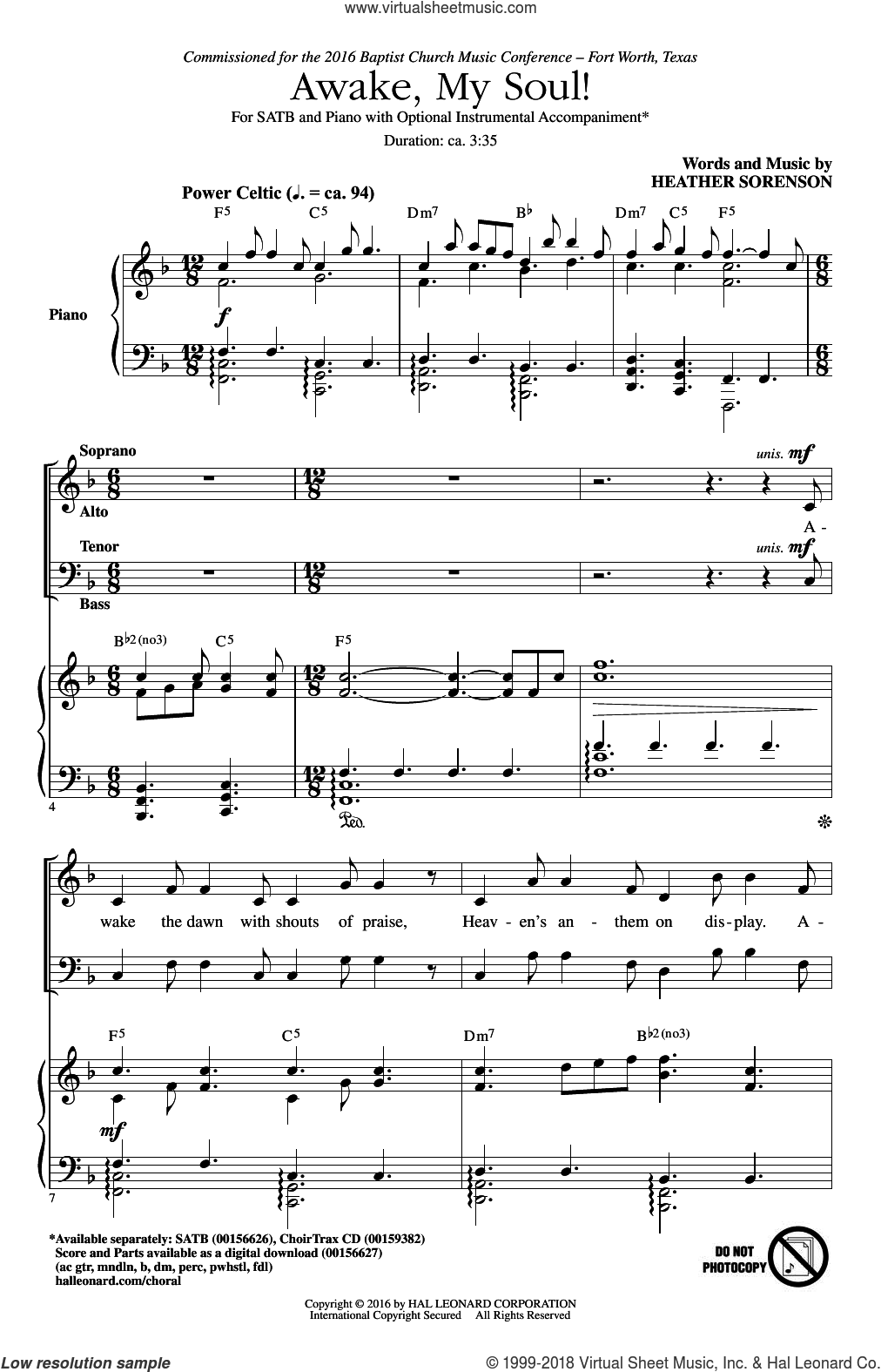 Awake, My Soul! sheet music for choir (SATB: soprano, alto, tenor, bass) by Heather Sorenson, intermediate