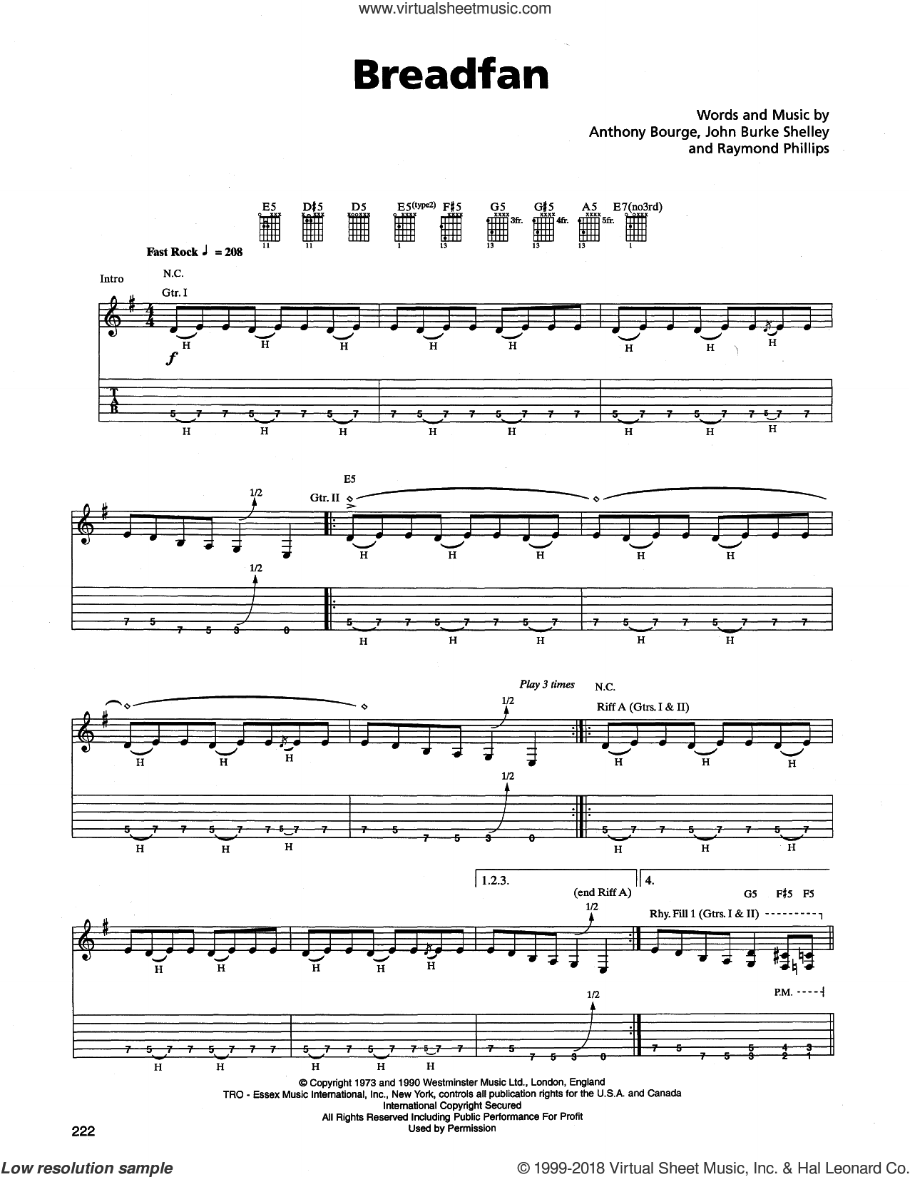 Breadfan sheet music for guitar (tablature) by Metallica, Anthony Bourge, John Burke Shelley and Raymond Phillips, intermediate