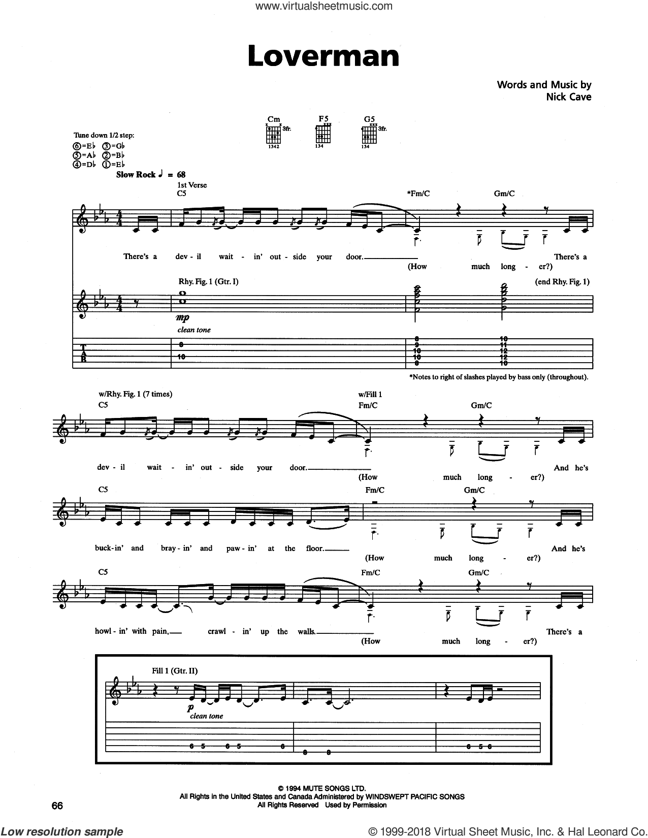 Loverman sheet music for guitar (tablature) by Nick Cave