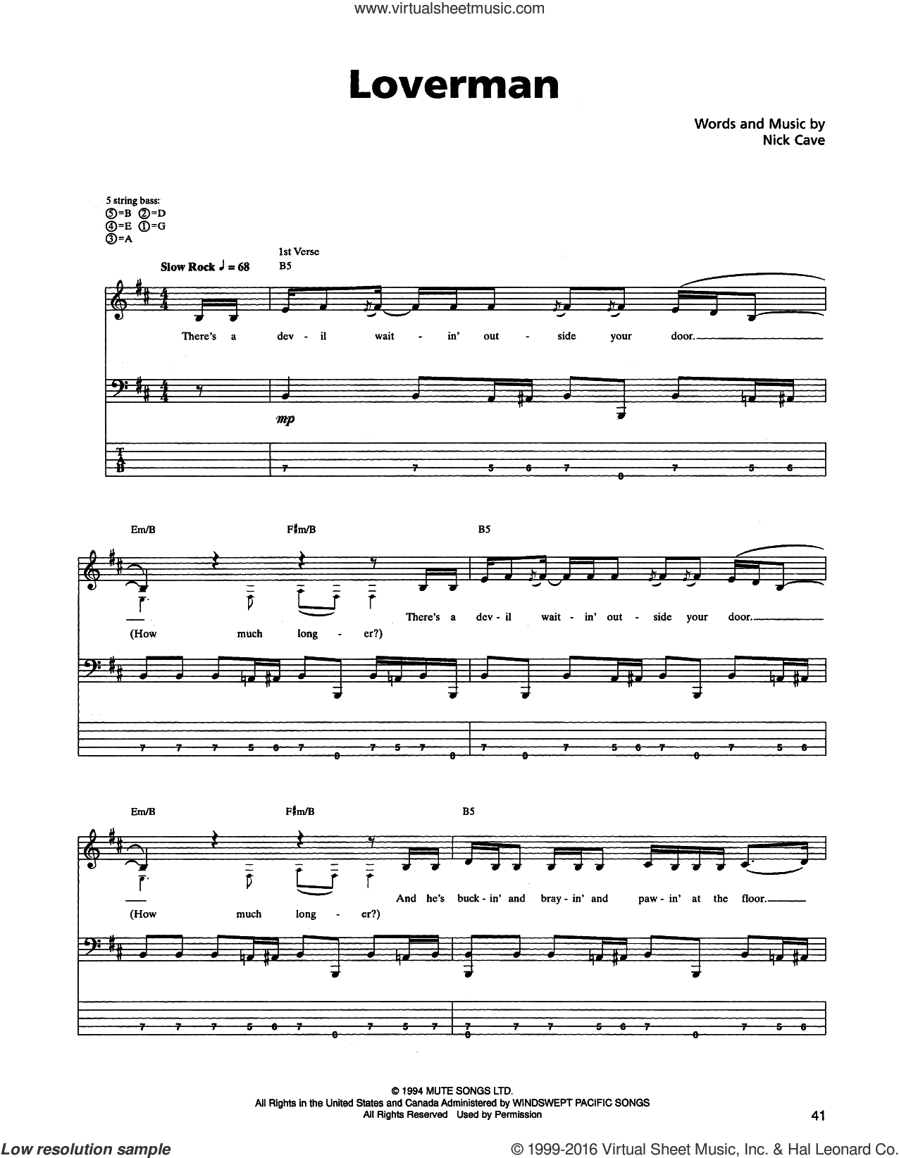Loverman sheet music for bass (tablature) (bass guitar) by Metallica and Nick Cave, intermediate bass (tablature) (bass guitar). Score Image Preview.