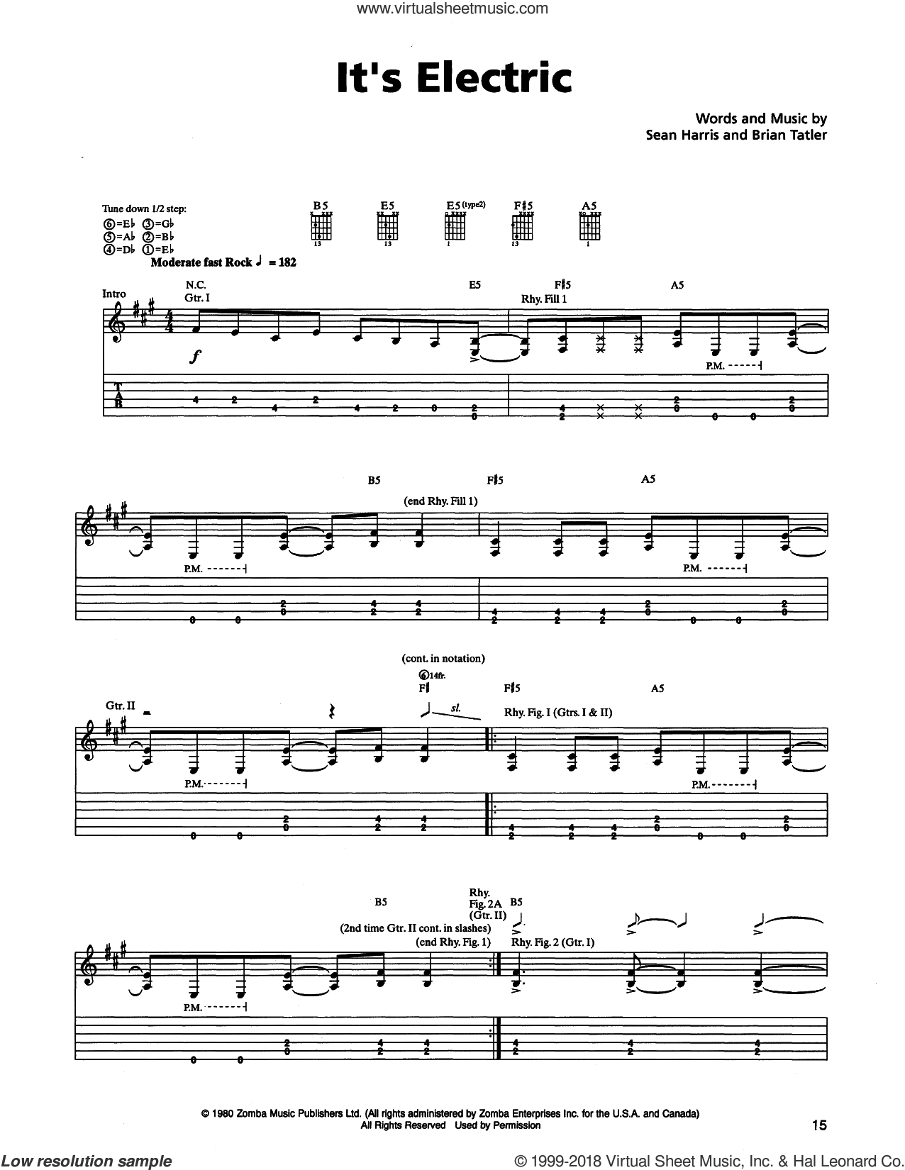 It's Electric sheet music for guitar (tablature) by Metallica, Brian Tatler and Sean Harris, intermediate skill level
