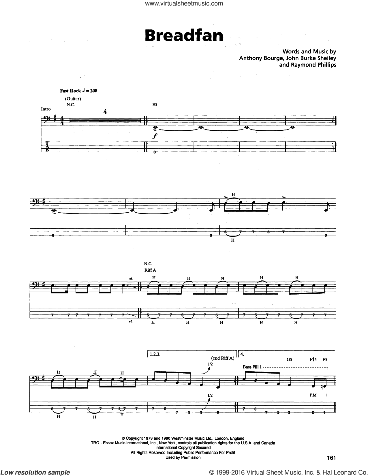 Breadfan sheet music for bass (tablature) (bass guitar) by Metallica, Anthony Bourge, John Burke Shelley and Raymond Phillips, intermediate skill level