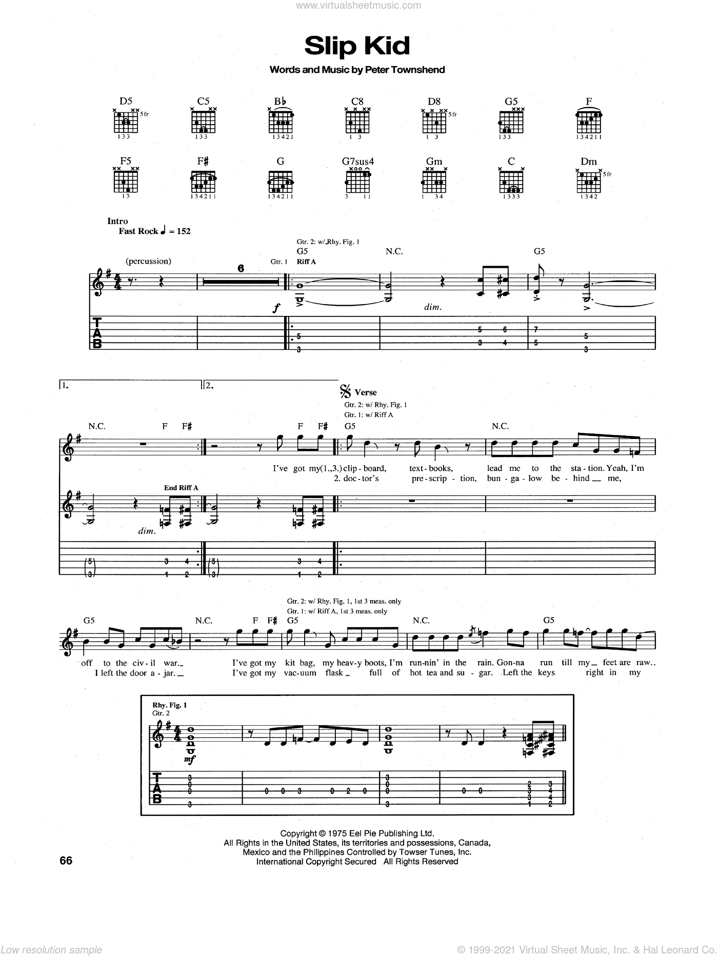 Slip Kid sheet music for guitar (tablature) by The Who and Pete Townshend. Score Image Preview.