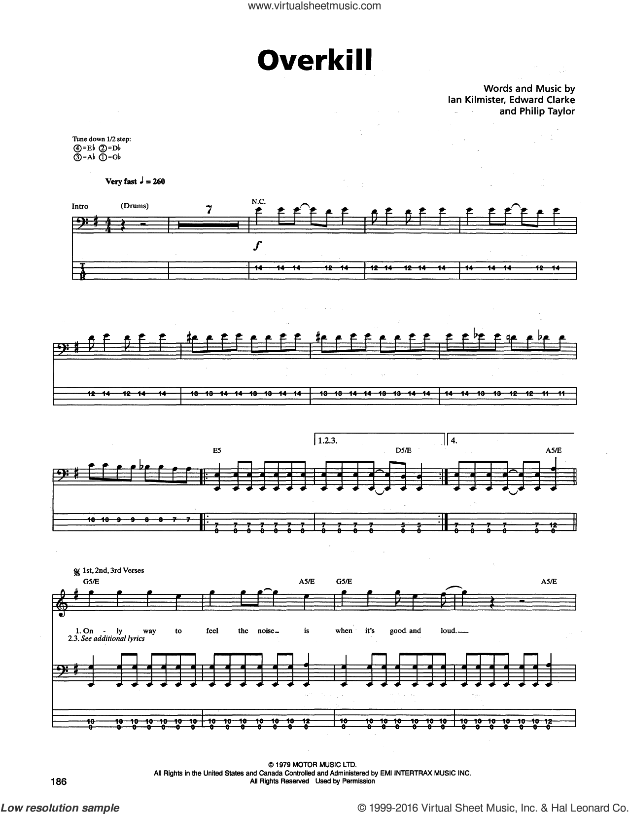 Overkill sheet music for bass (tablature) (bass guitar) by Philip Taylor and Edward Clarke. Score Image Preview.