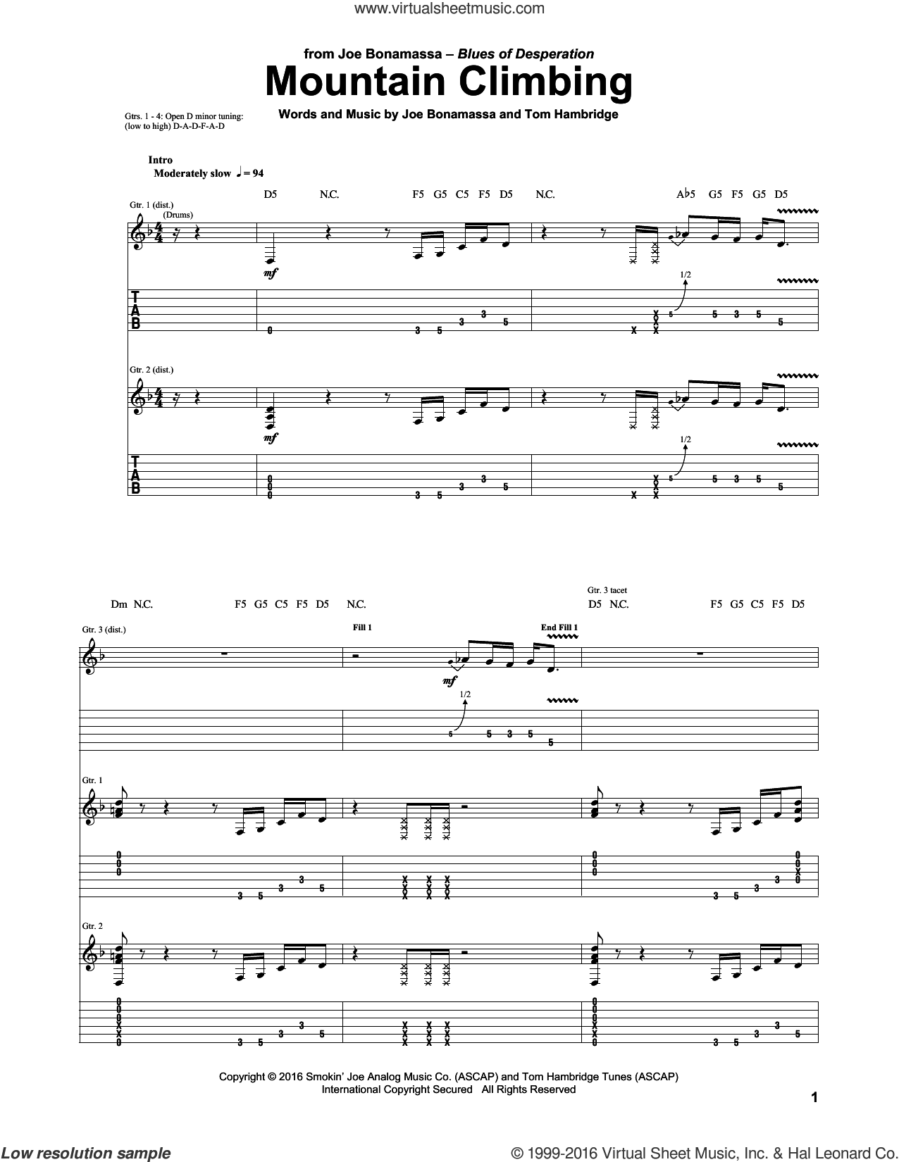Mountain Climbing sheet music for guitar (tablature) by Joe Bonamassa, intermediate. Score Image Preview.