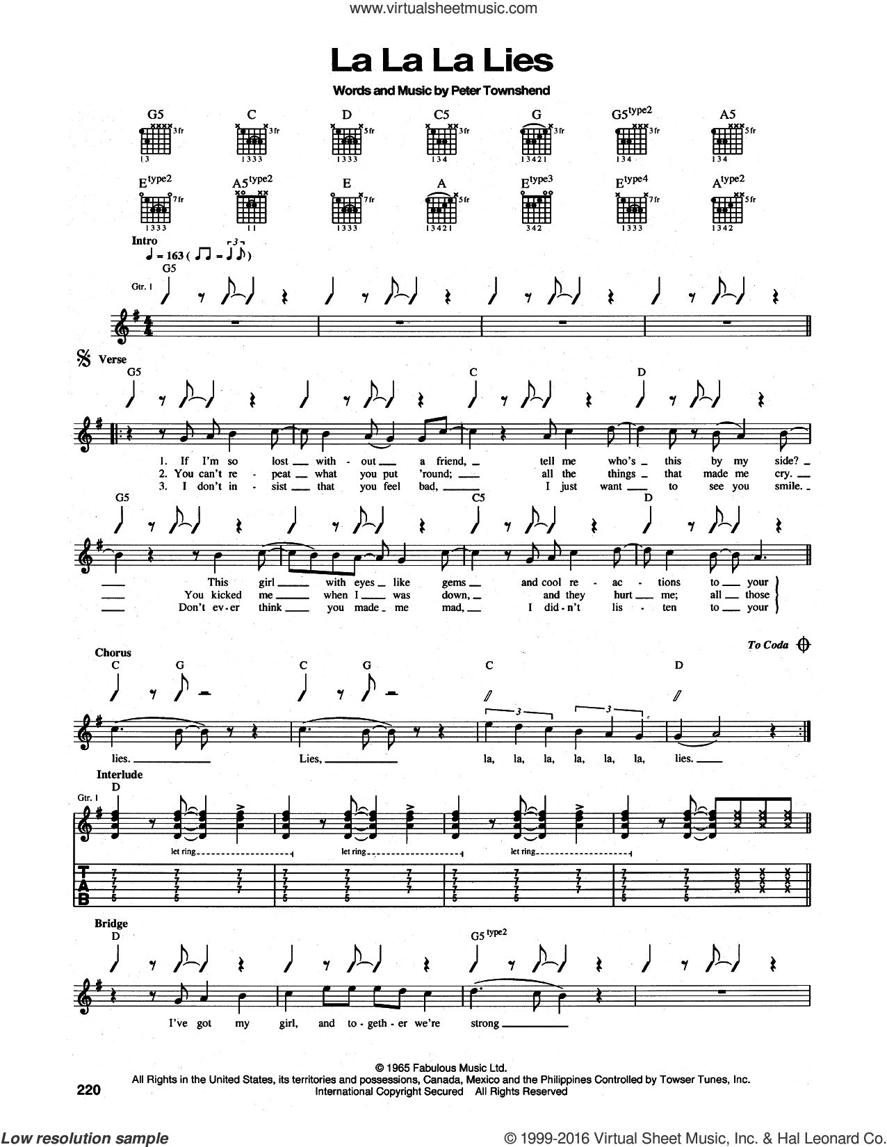 La La La Lies sheet music for guitar (tablature) by Pete Townshend and The Who. Score Image Preview.
