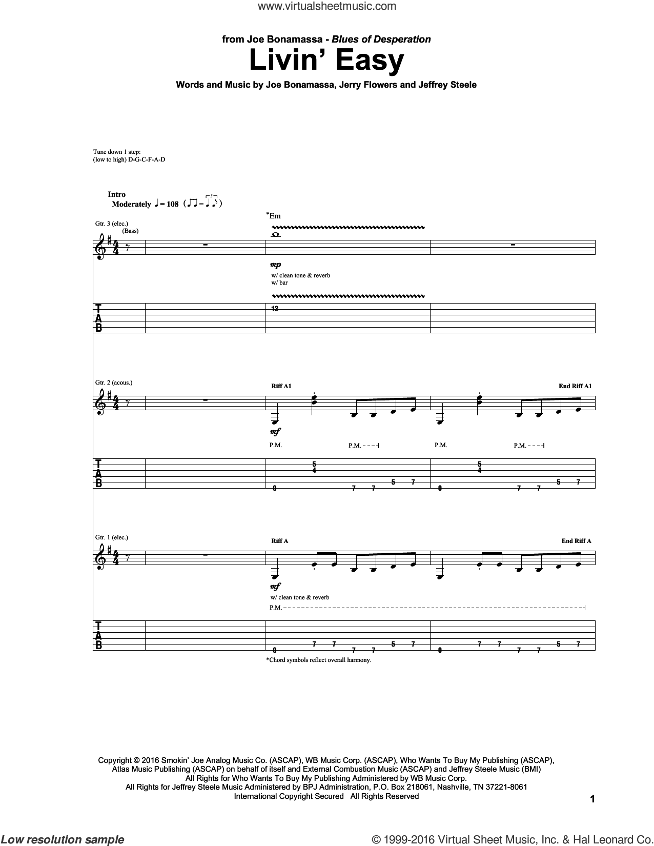 Livin' Easy sheet music for guitar (tablature) by Jerry Flowers, Jeffrey Steele and Joe Bonamassa. Score Image Preview.