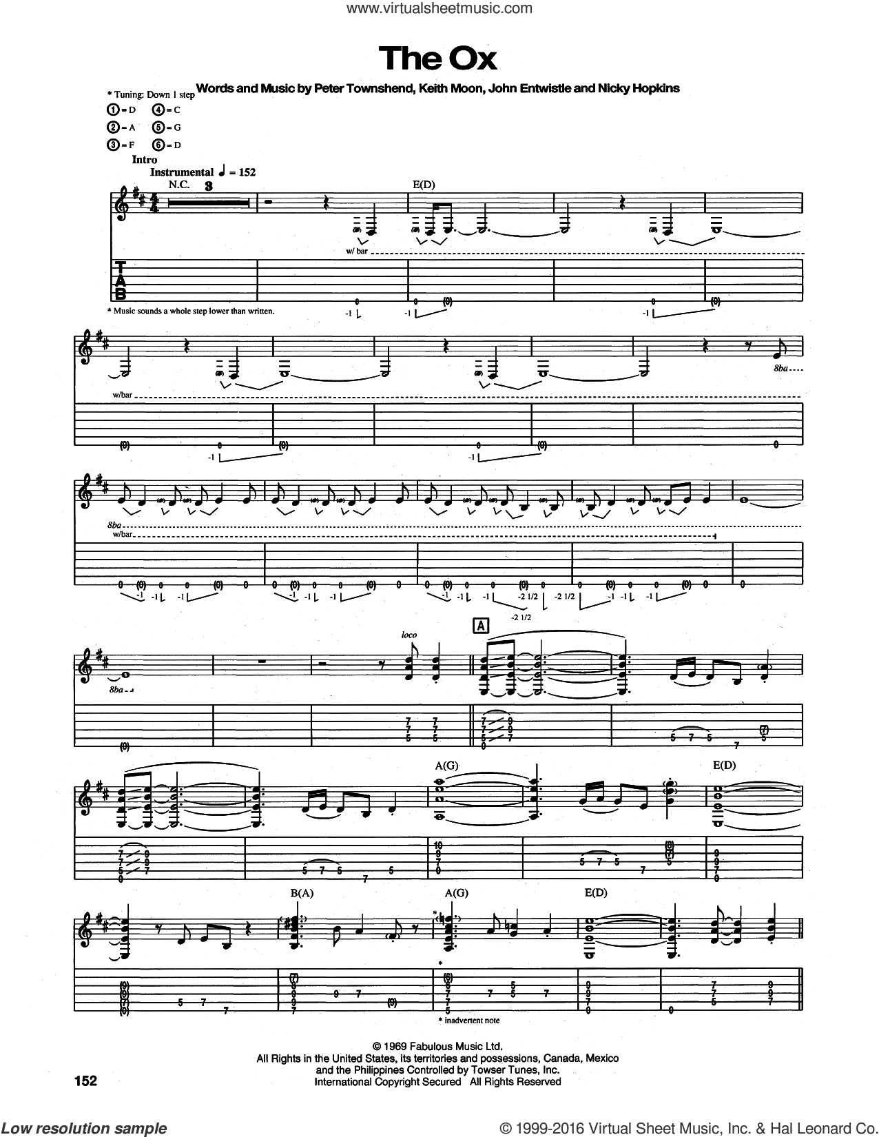 The Ox sheet music for guitar (tablature) by Pete Townshend, The Who and Keith Moon. Score Image Preview.