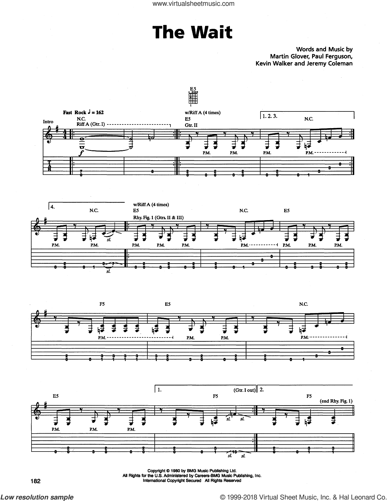 The Wait sheet music for guitar (tablature) by Paul Ferguson and Metallica. Score Image Preview.