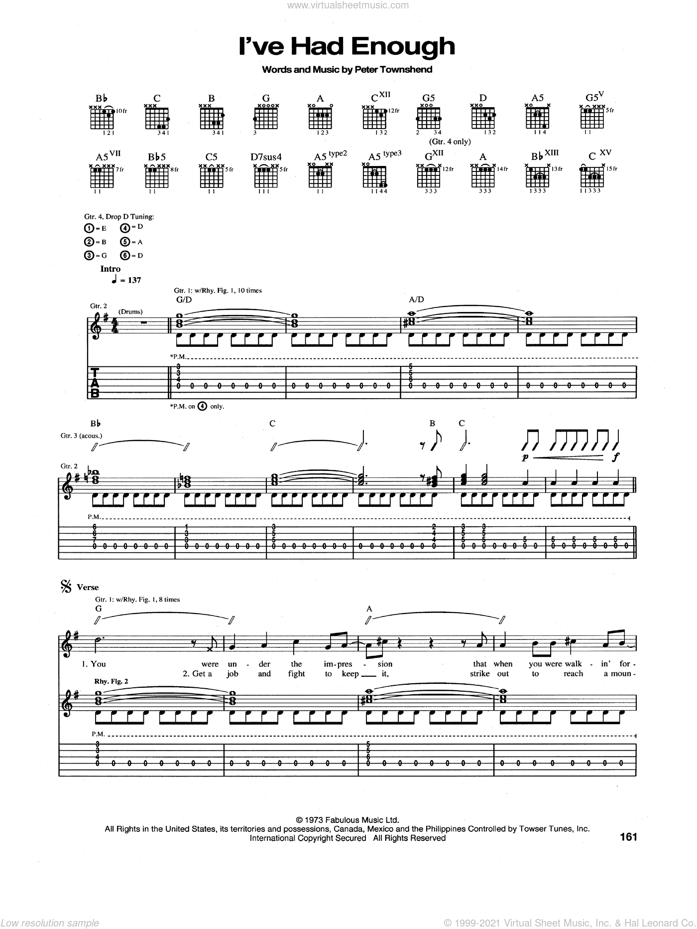 I've Had Enough sheet music for guitar (tablature) by The Who and Pete Townshend. Score Image Preview.