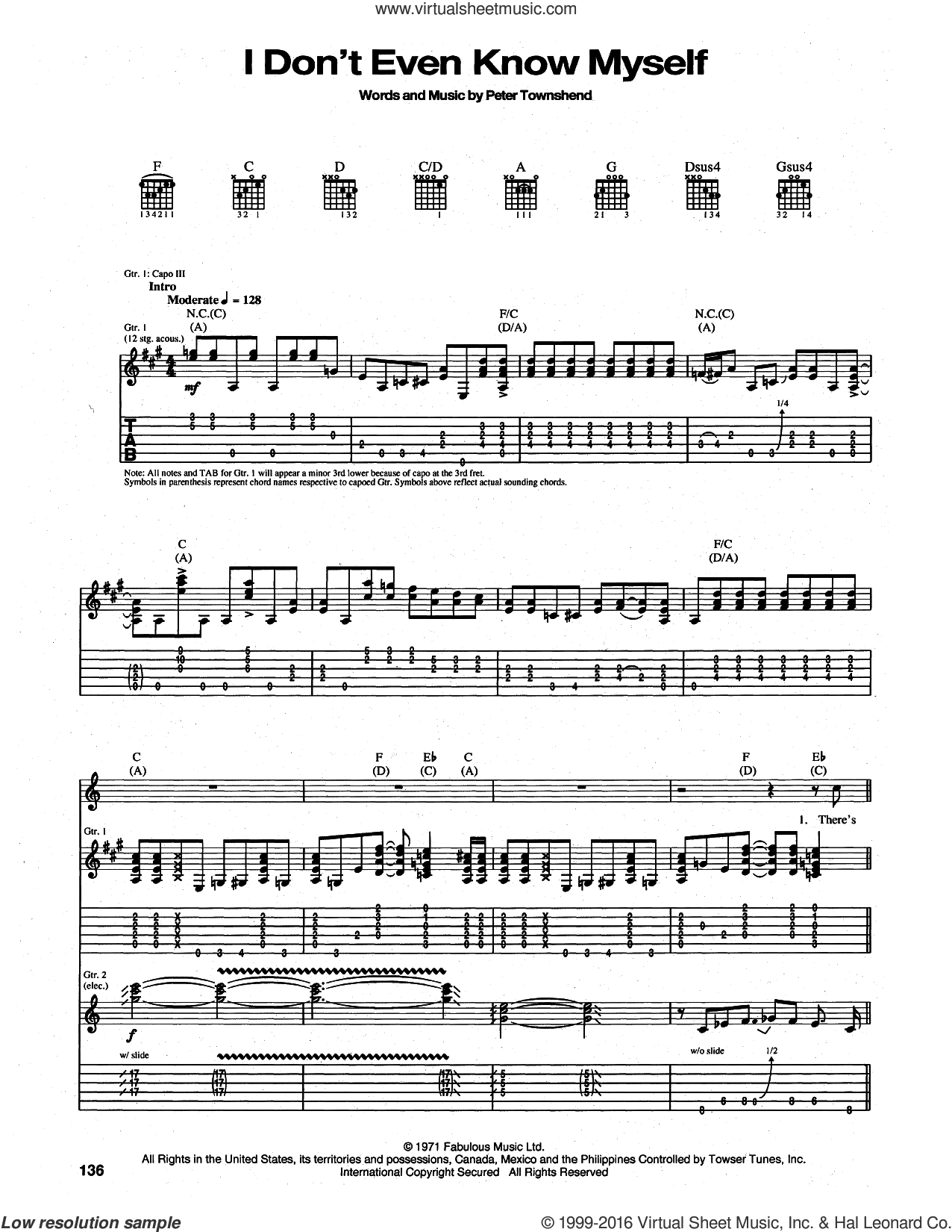 I Don't Even Know Myself sheet music for guitar (tablature) by The Who and Pete Townshend, intermediate. Score Image Preview.