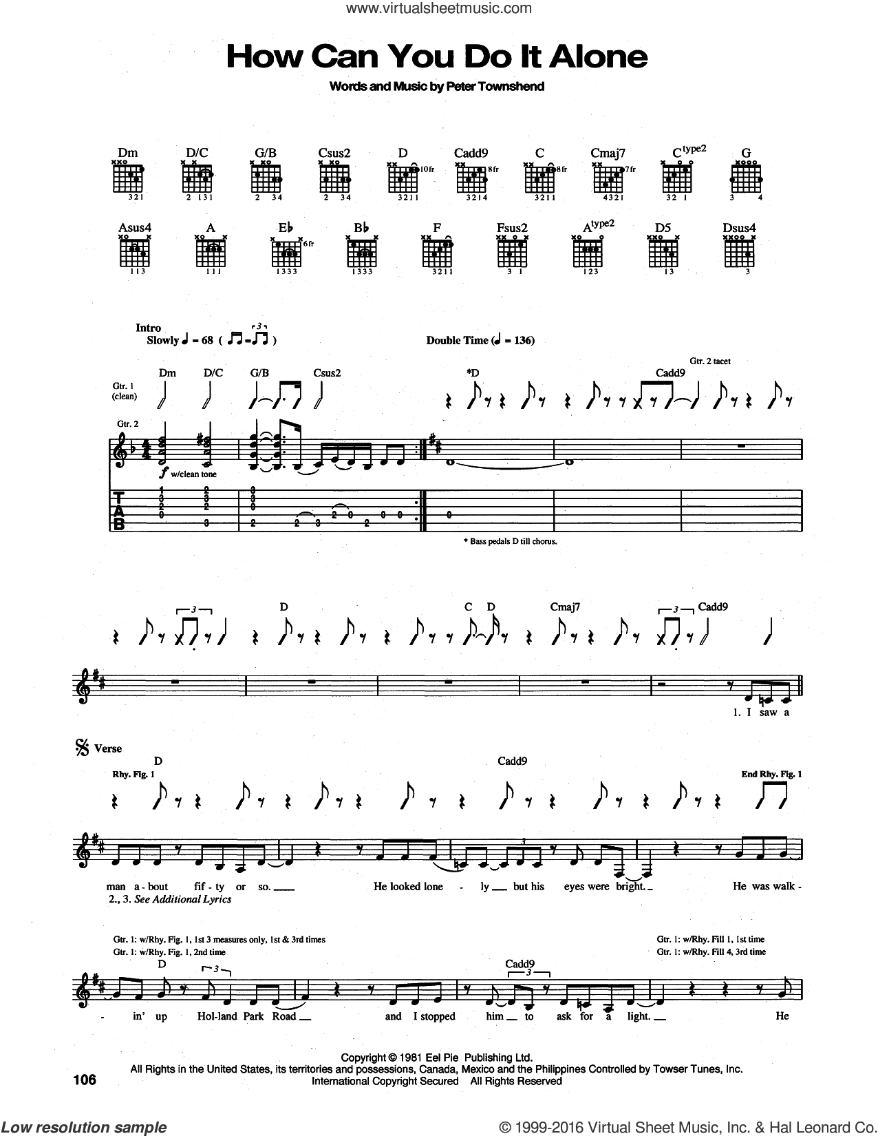 How Can You Do It Alone sheet music for guitar (tablature) by The Who and Pete Townshend, intermediate skill level