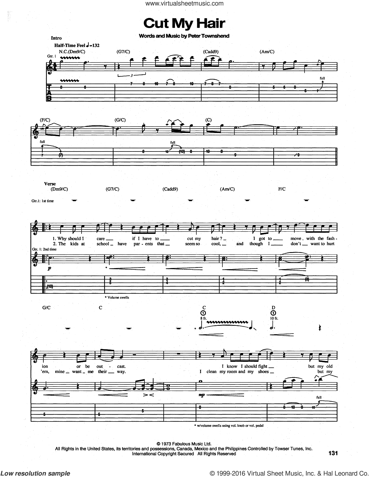 Cut My Hair sheet music for guitar (tablature) by The Who and Pete Townshend, intermediate guitar (tablature). Score Image Preview.