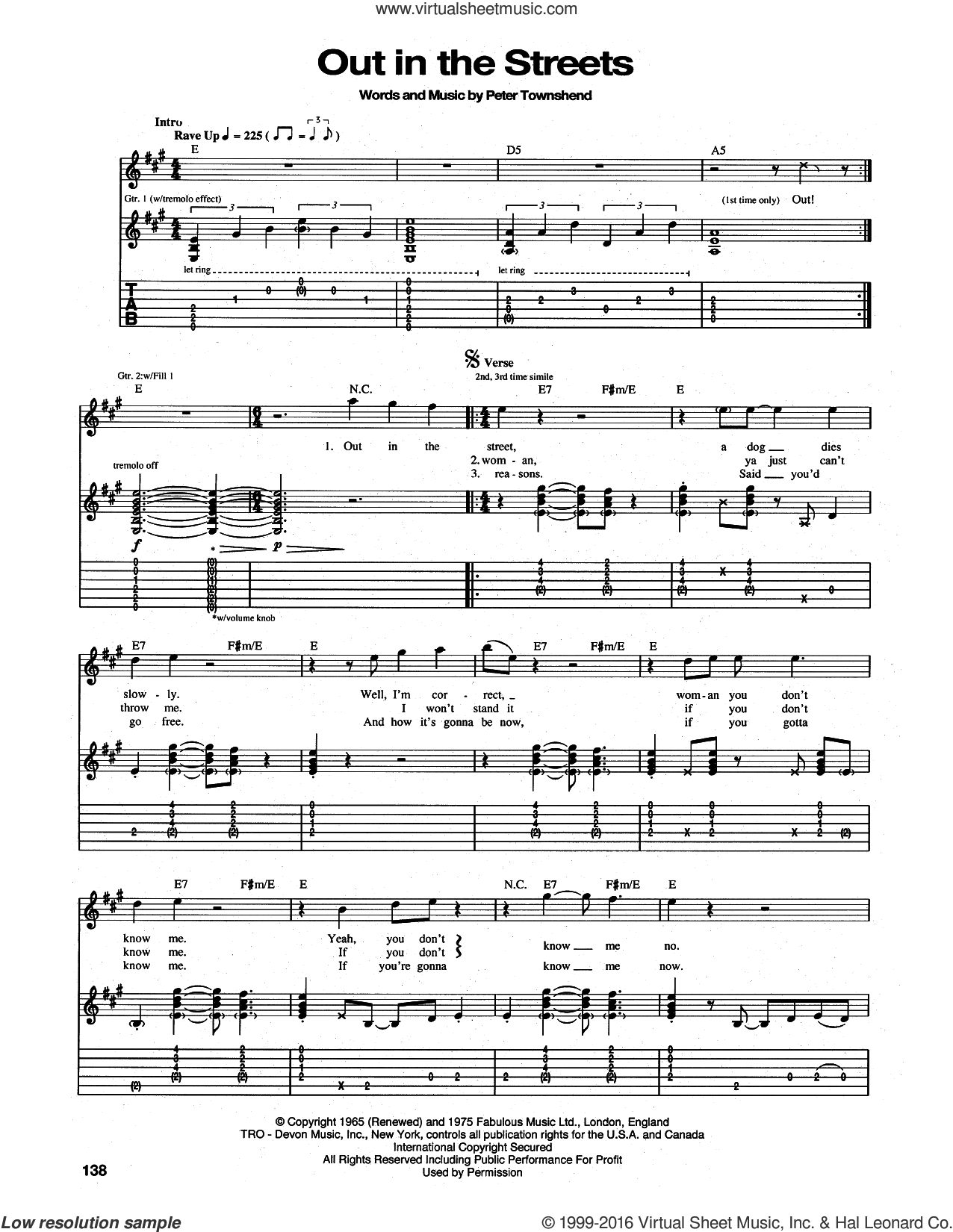 Out In The Street sheet music for guitar (tablature) by Pete Townshend and The Who. Score Image Preview.
