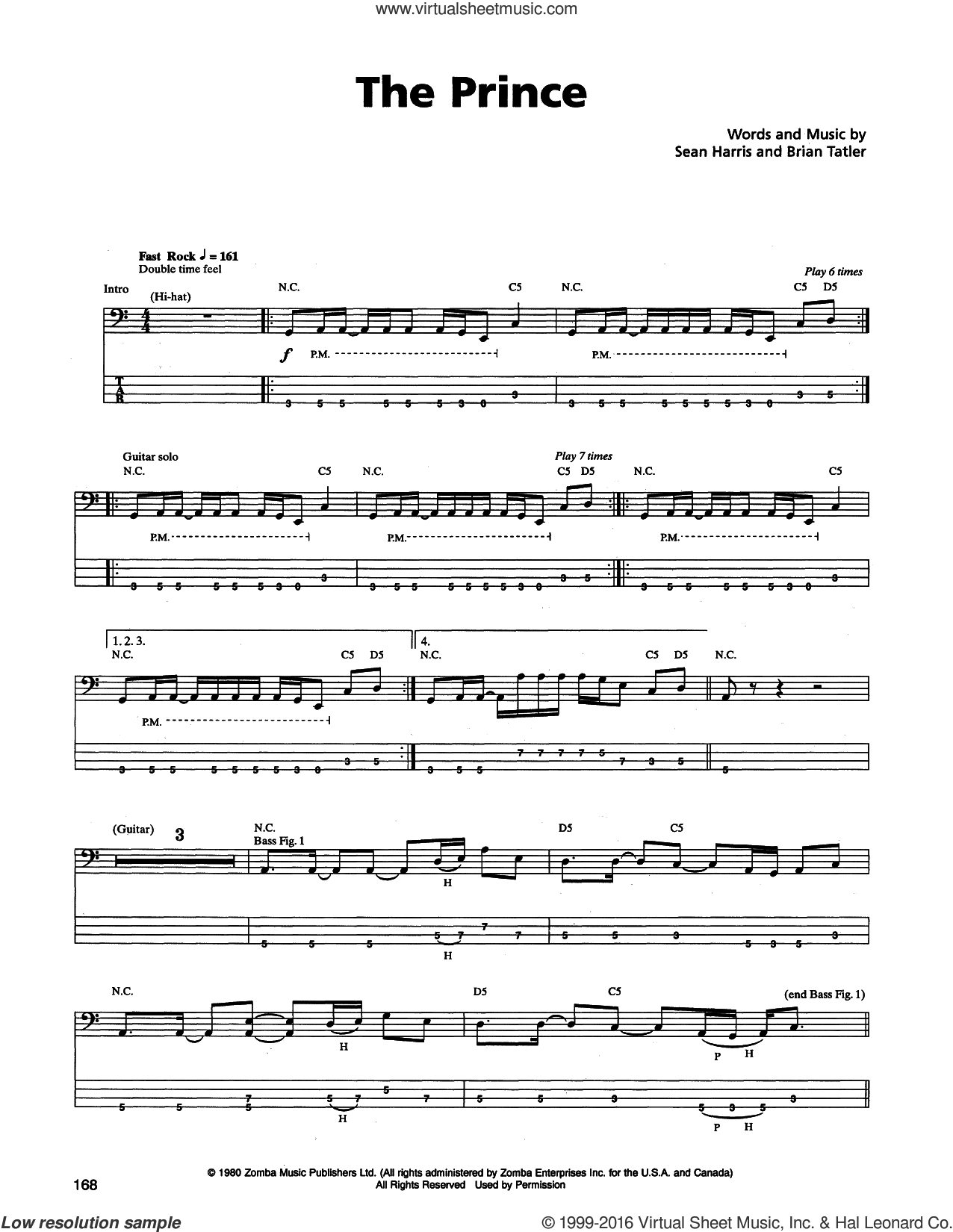 The Prince sheet music for bass (tablature) (bass guitar) by Metallica, intermediate. Score Image Preview.