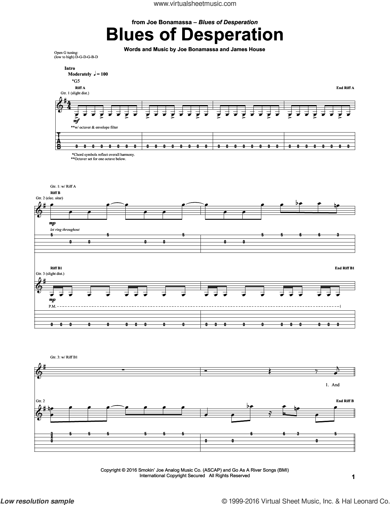 Blues Of Desperation sheet music for guitar (tablature) by James House and Joe Bonamassa. Score Image Preview.