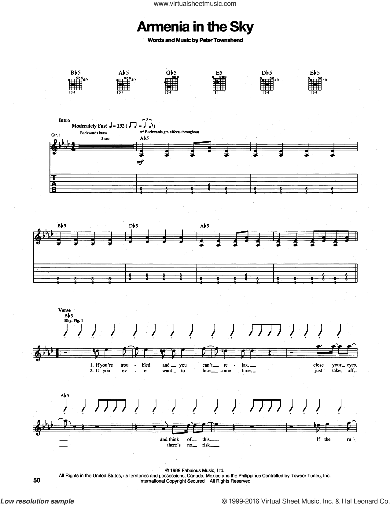 Armenia City In The Sky sheet music for guitar (tablature) by The Who and Pete Townshend, intermediate guitar (tablature). Score Image Preview.