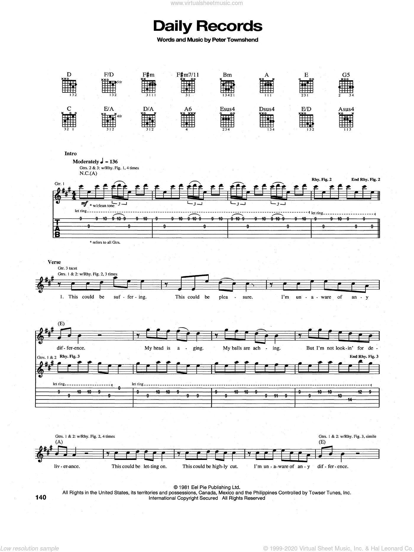 Daily Records sheet music for guitar (tablature) by Pete Townshend and The Who. Score Image Preview.