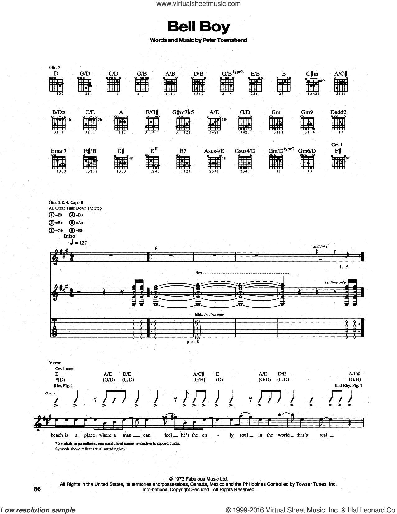 Bell Boy sheet music for guitar (tablature) by Pete Townshend and The Who. Score Image Preview.