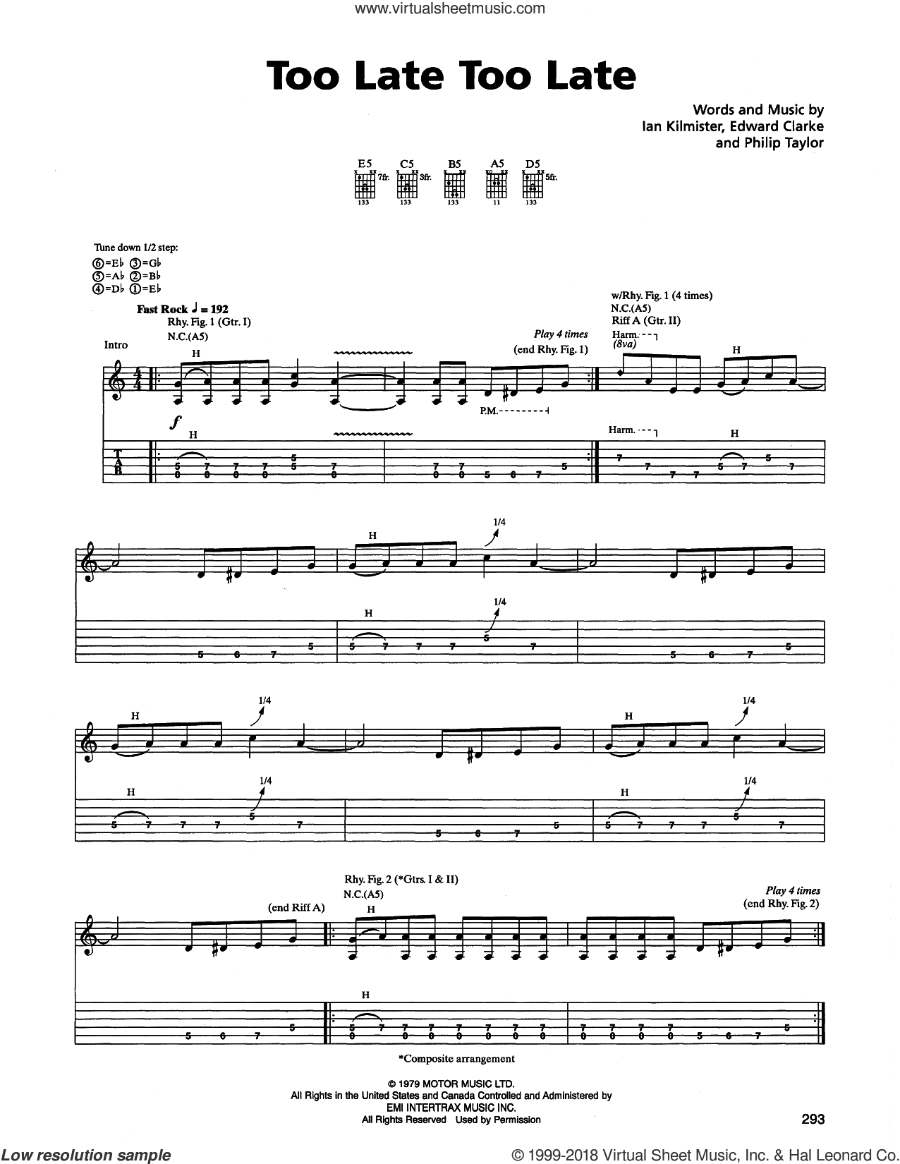 Too Late Too Late sheet music for guitar (tablature) by Philip Taylor and Edward Clarke. Score Image Preview.